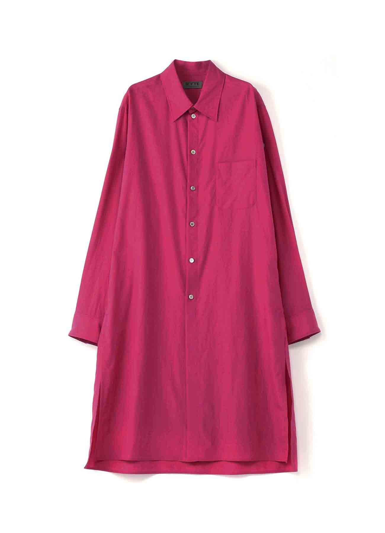 50s Lyocell / Cotton broad Neon Pink Regular Long Shirt