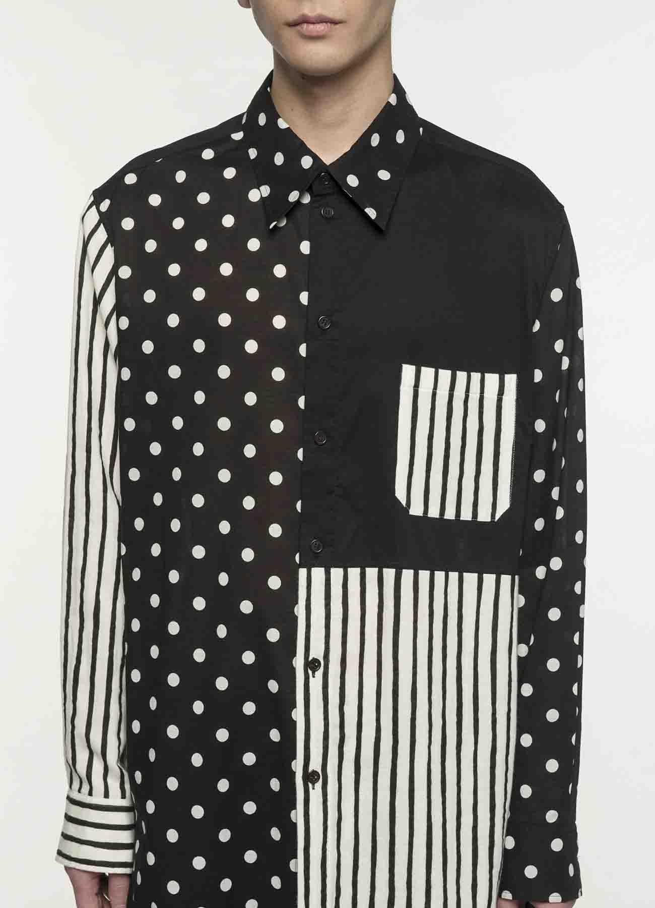 圆点/条纹长款衬衫