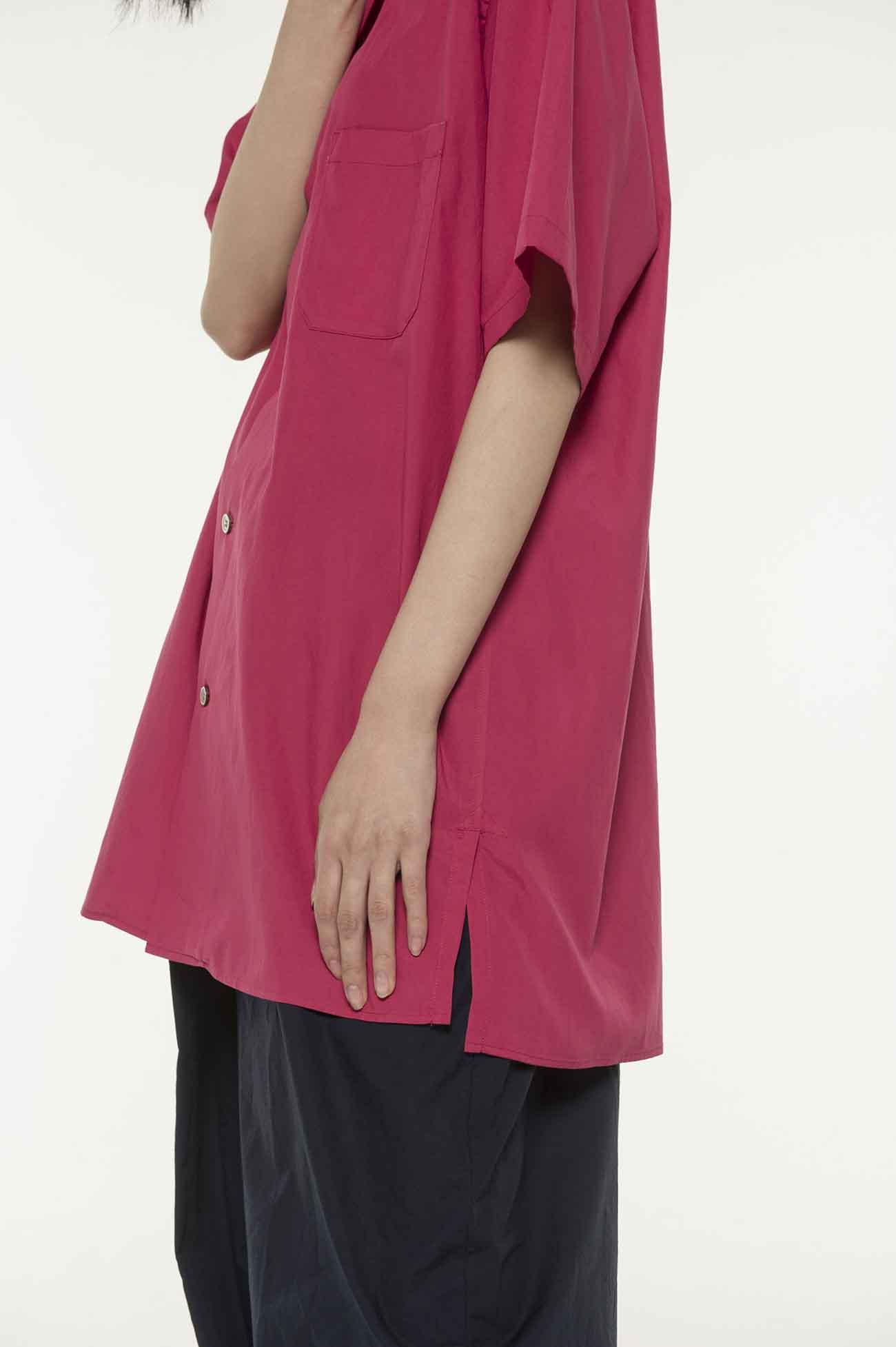 50s Lyocell/Cotton Broad  Open Collar Short Sleeve Shirt