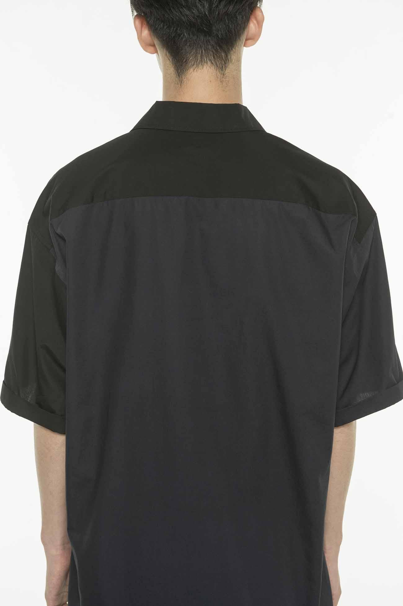 双色短袖衬衫