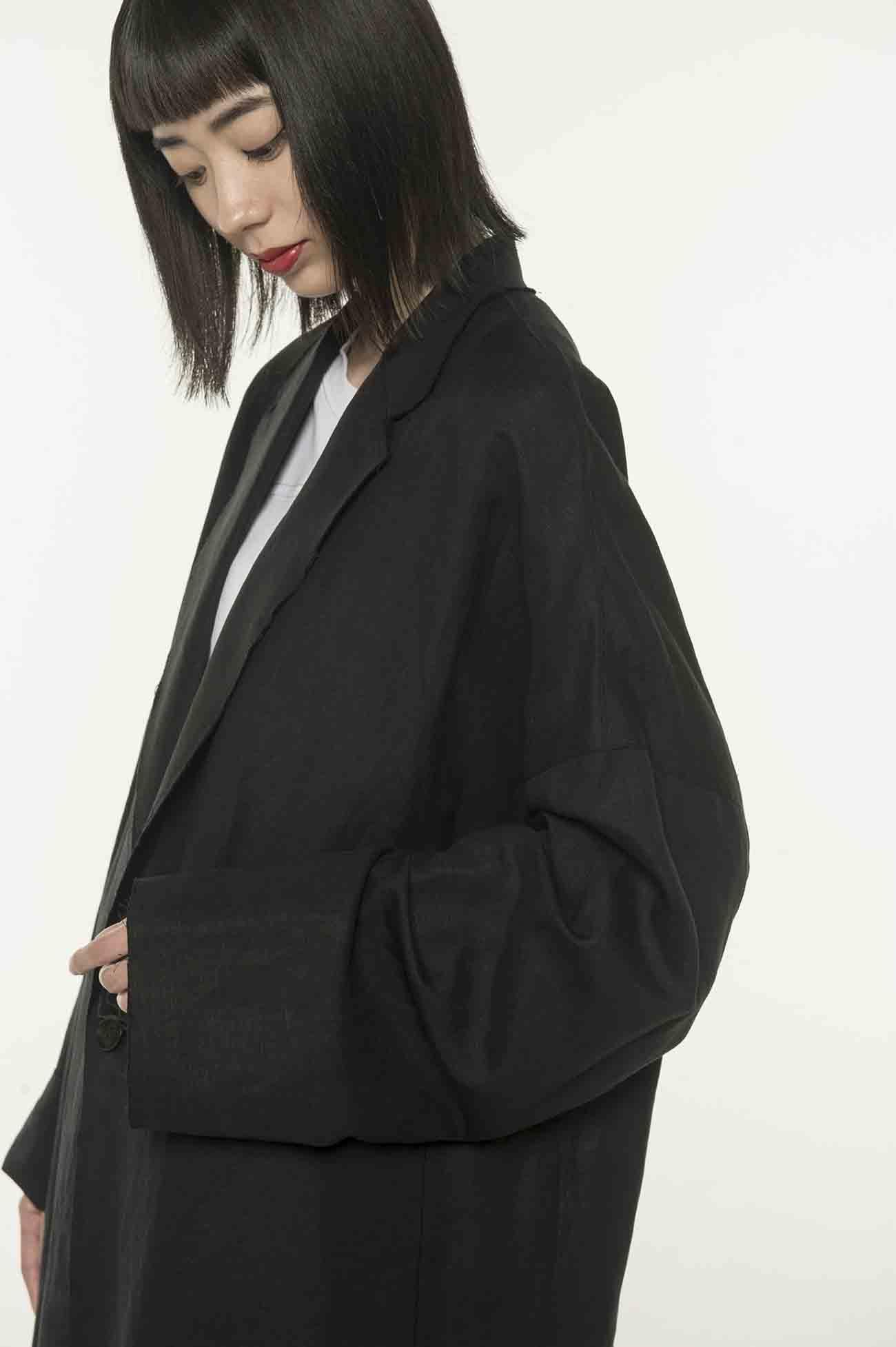 人造丝混纺长款大衣