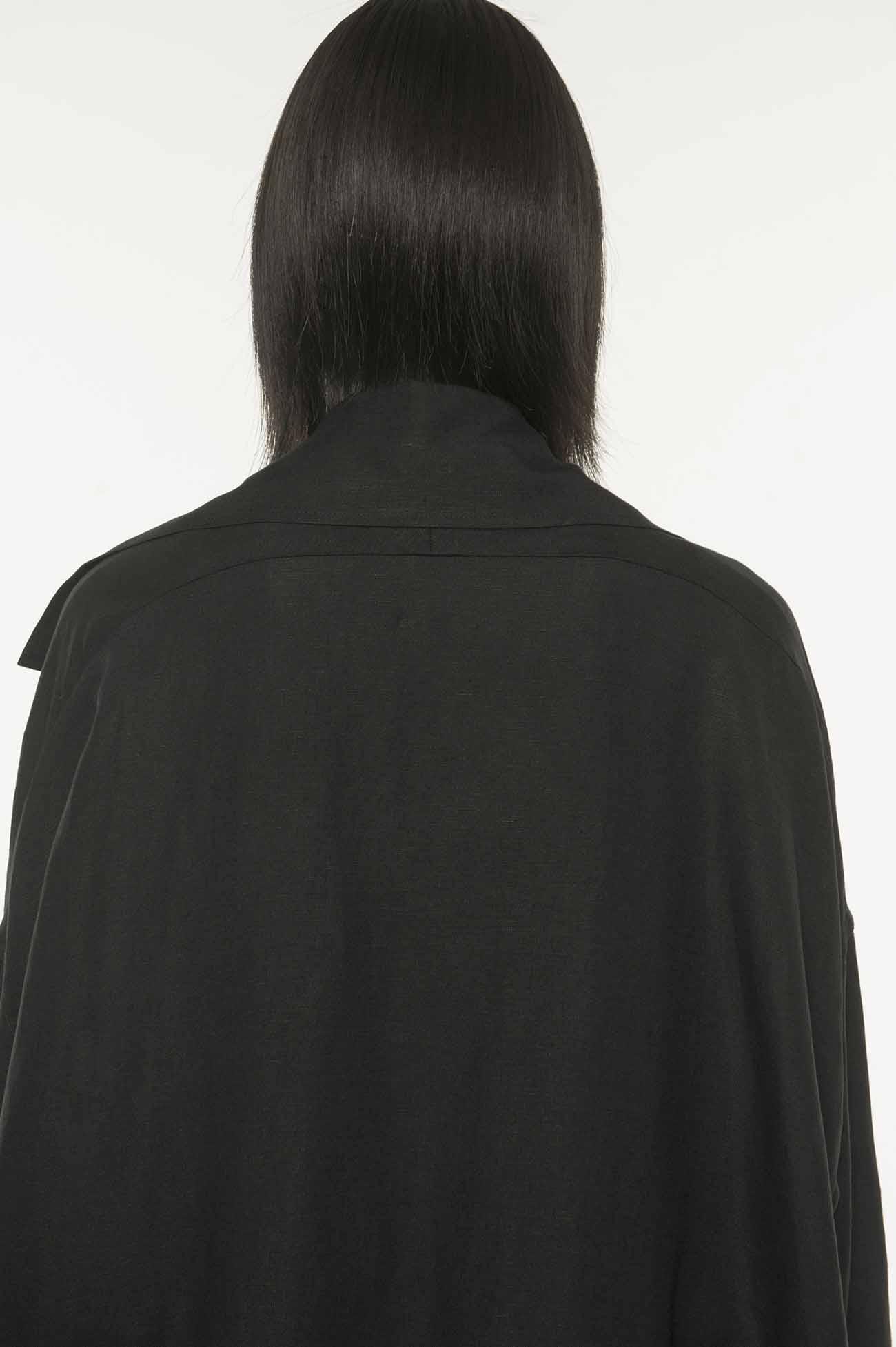 多重领口设计长款大衣