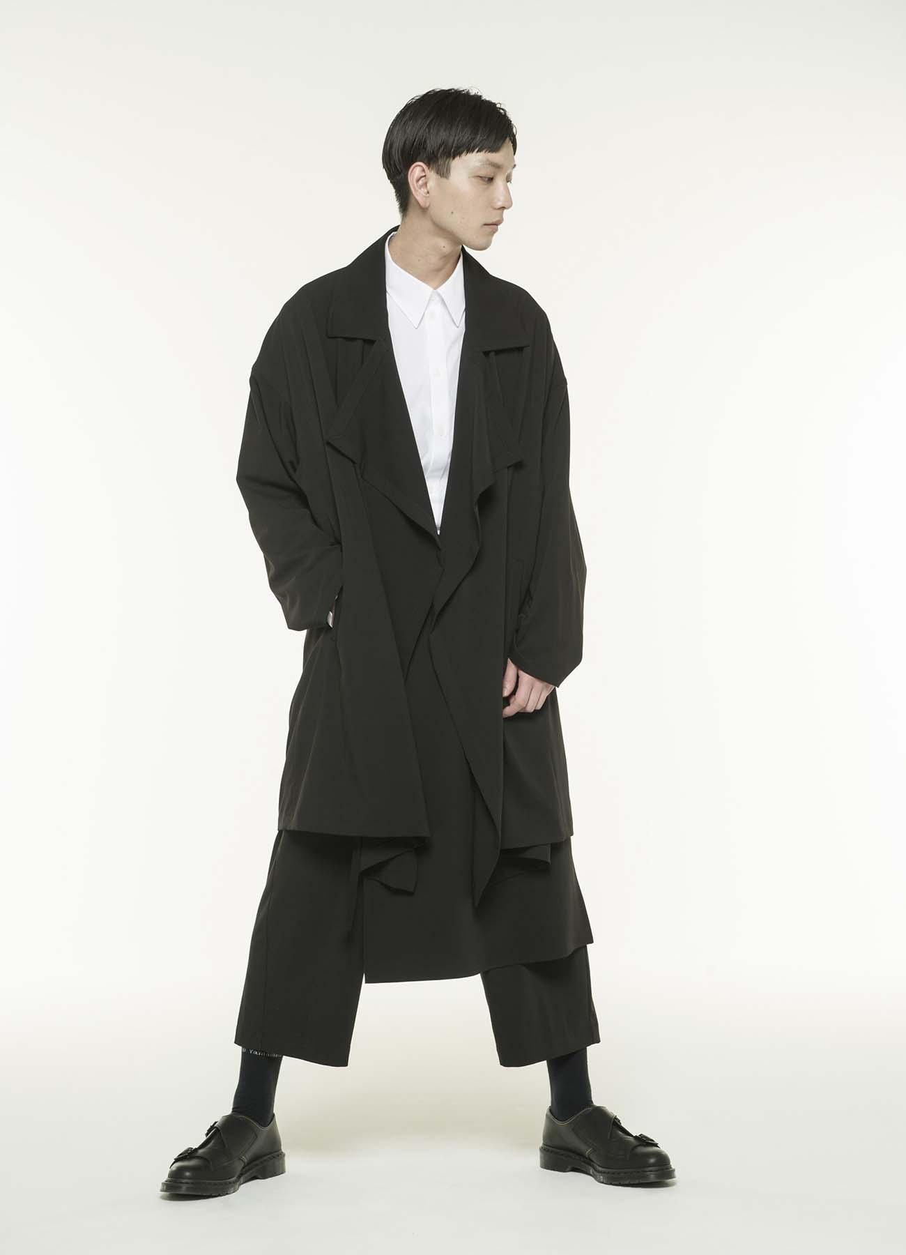 涤纶人造丝混纺西装领大衣