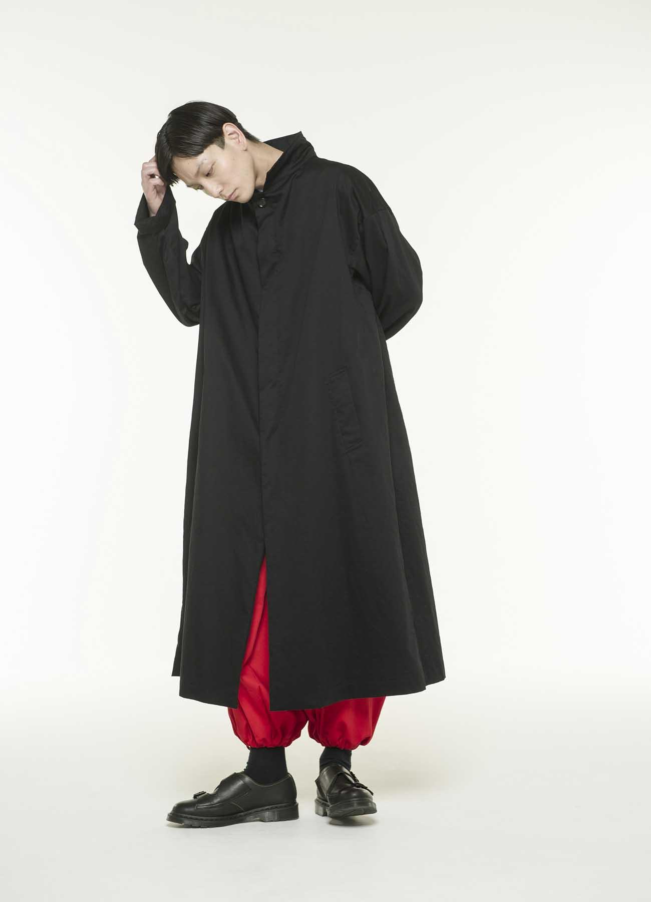 黑色斜纹棉长款前扣风衣