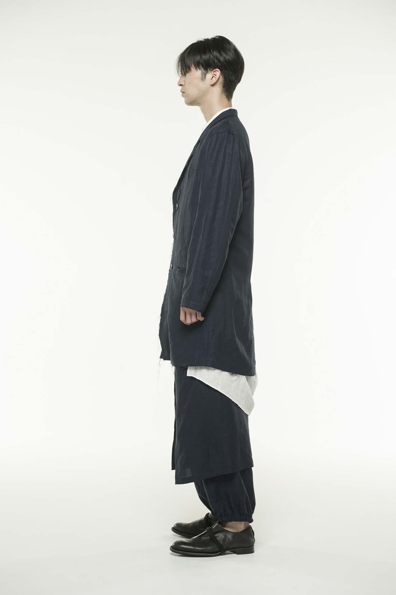 西装领混纺长款夹克