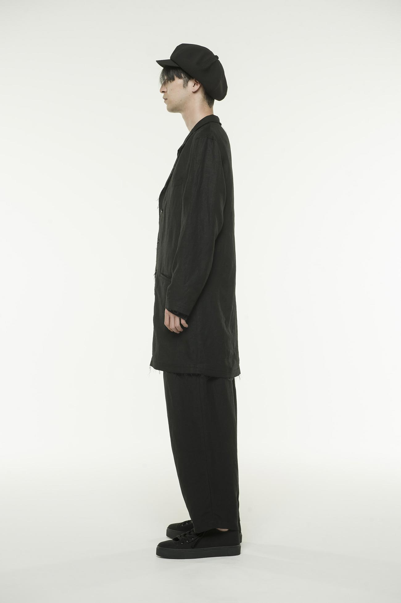 Rayon Linen Easy Cross・B 3 BS Tailored Long Shirt Jacket