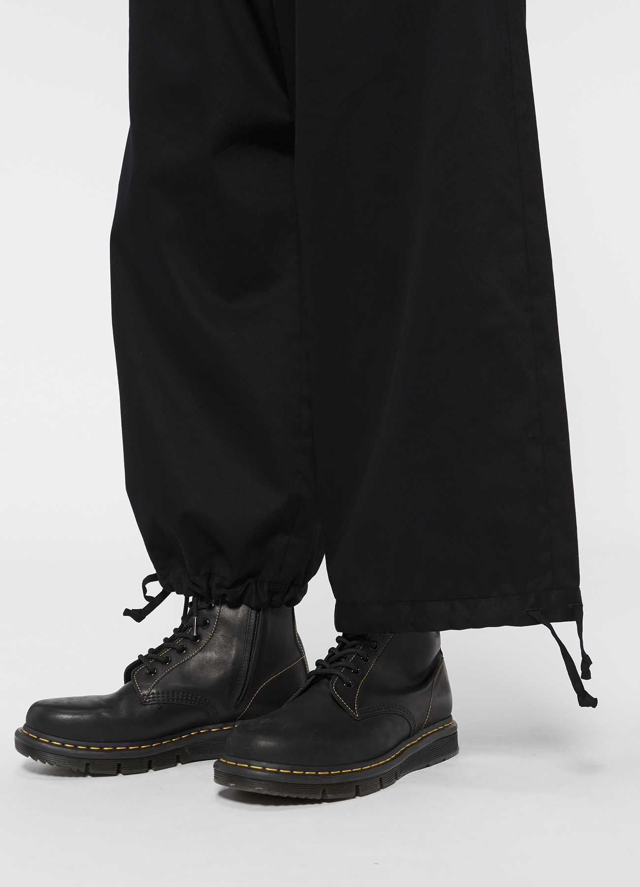 斜纹棉布抽绳灯笼裤