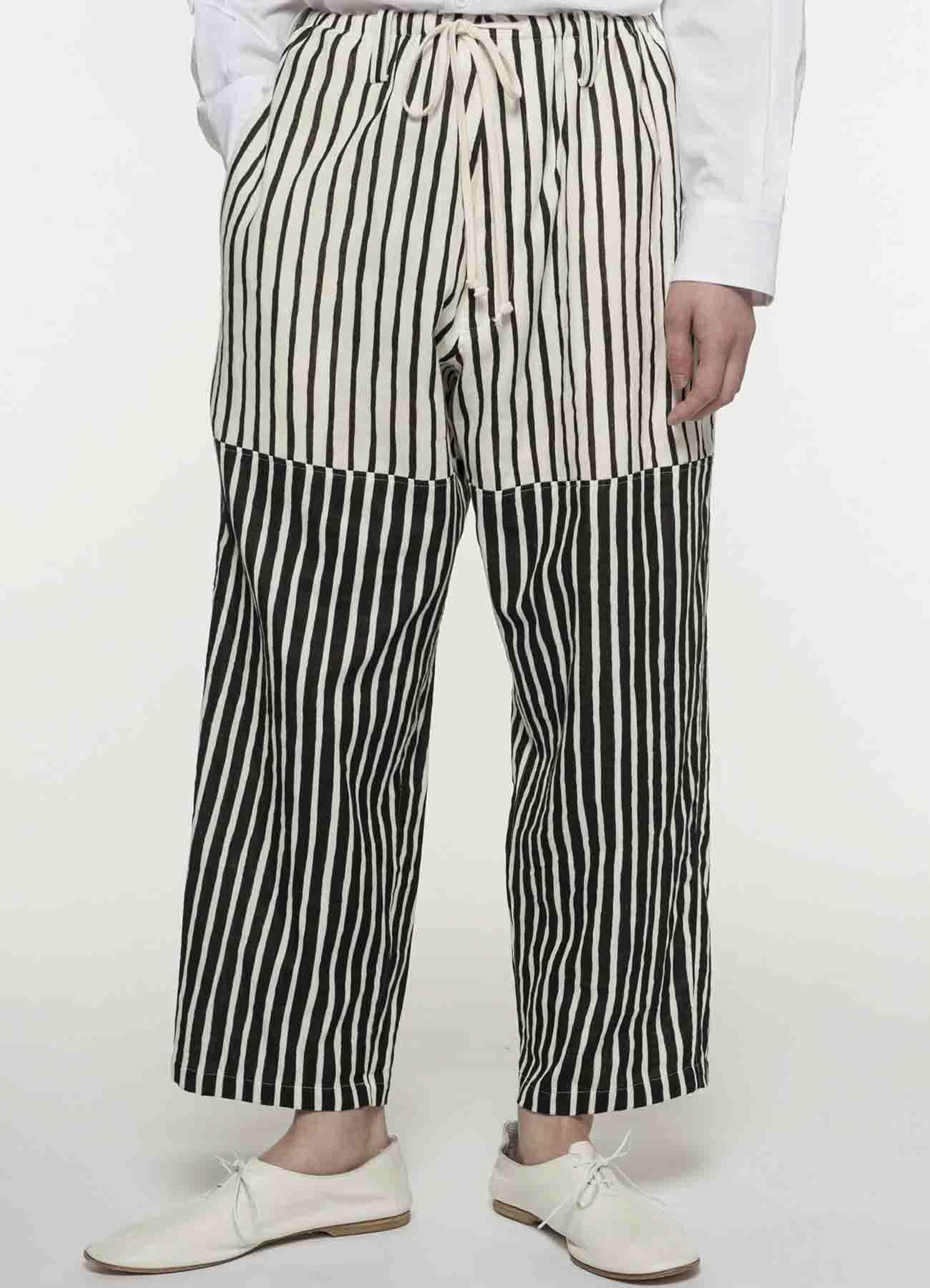 抽绳条纹长裤