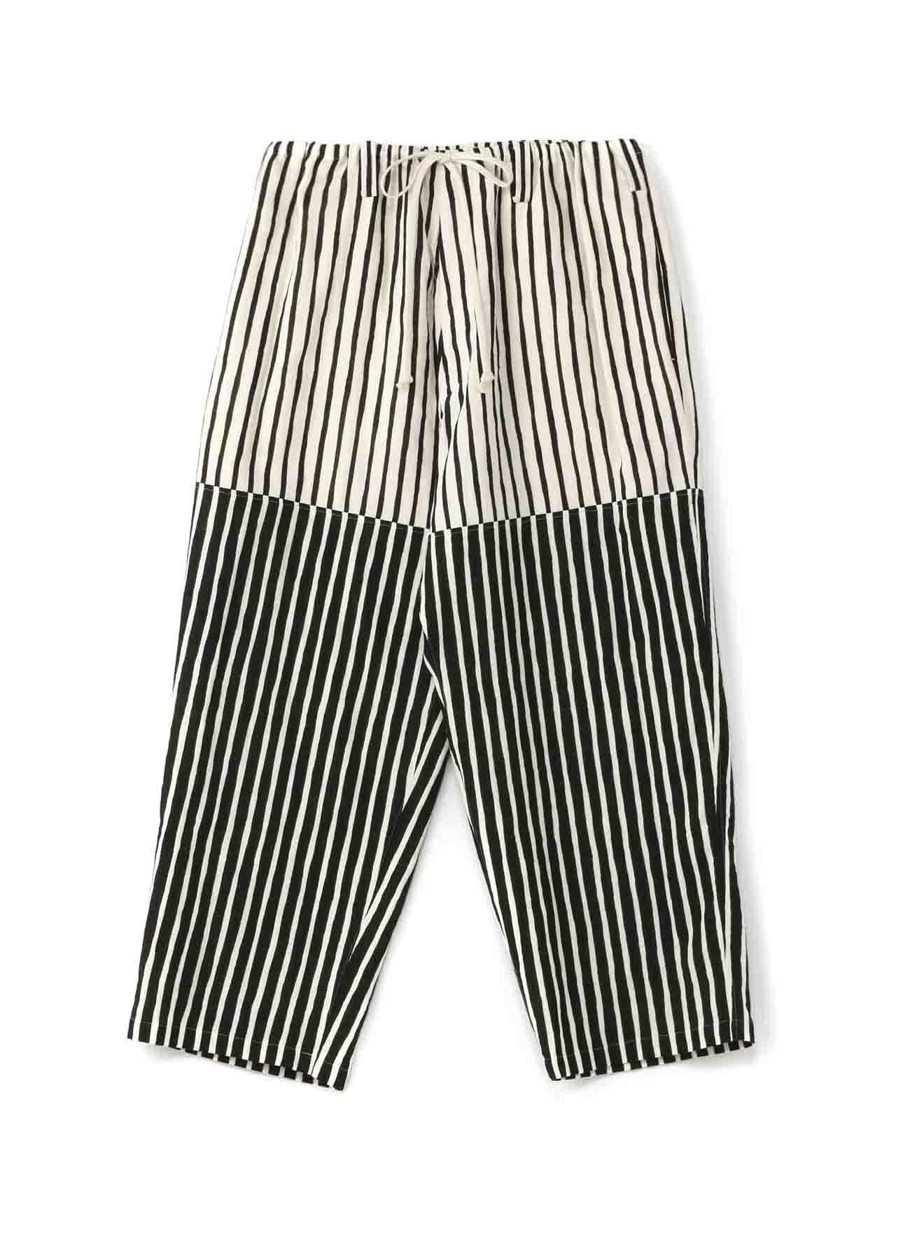 Two-Tone Stripe Panel String Pants