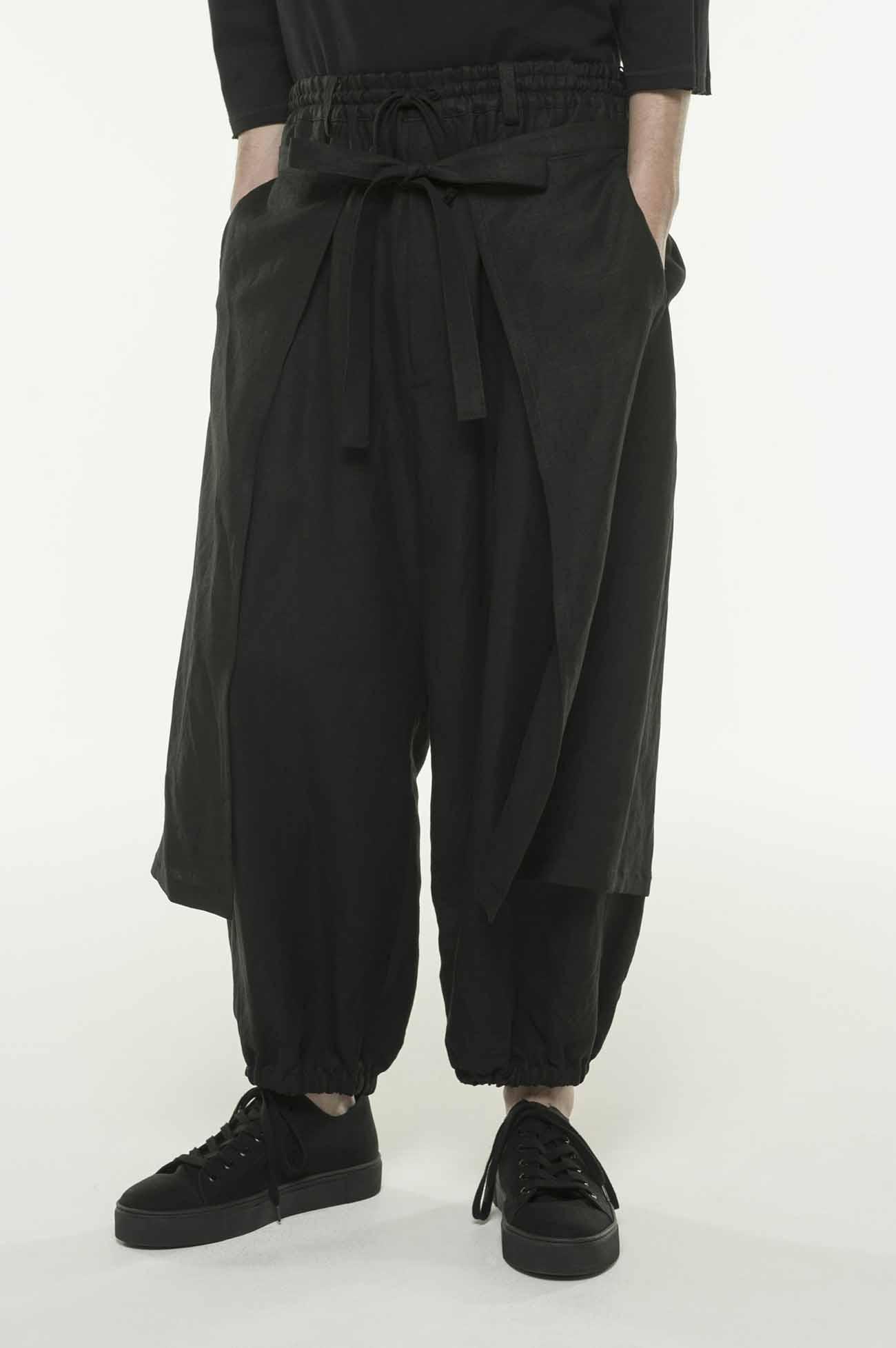 Rayon Linen Easy Cross・B Hem Both Sides Wrap Pants