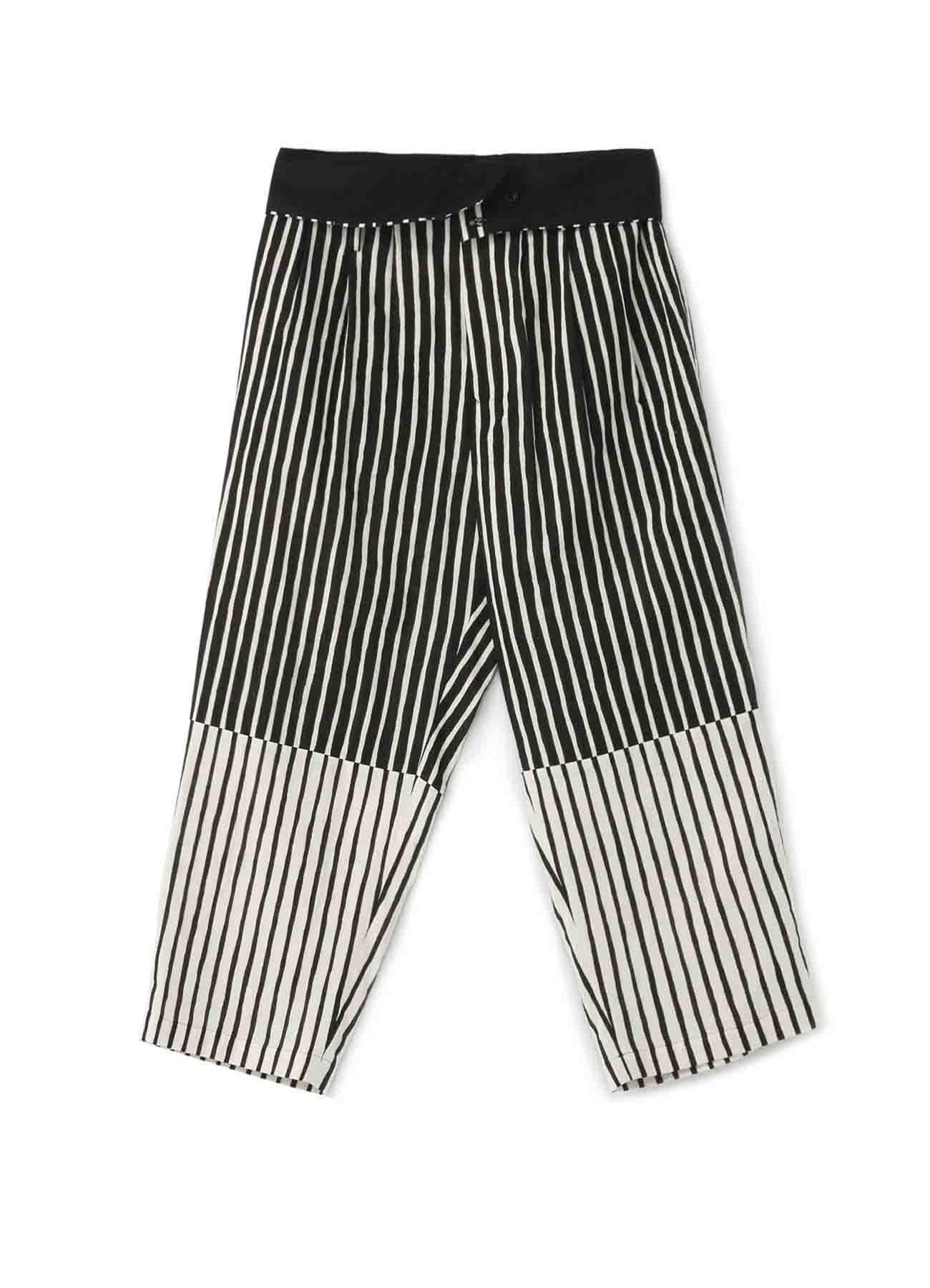 Two-Tone Stripe Panel 3Tuck High Waist Pants