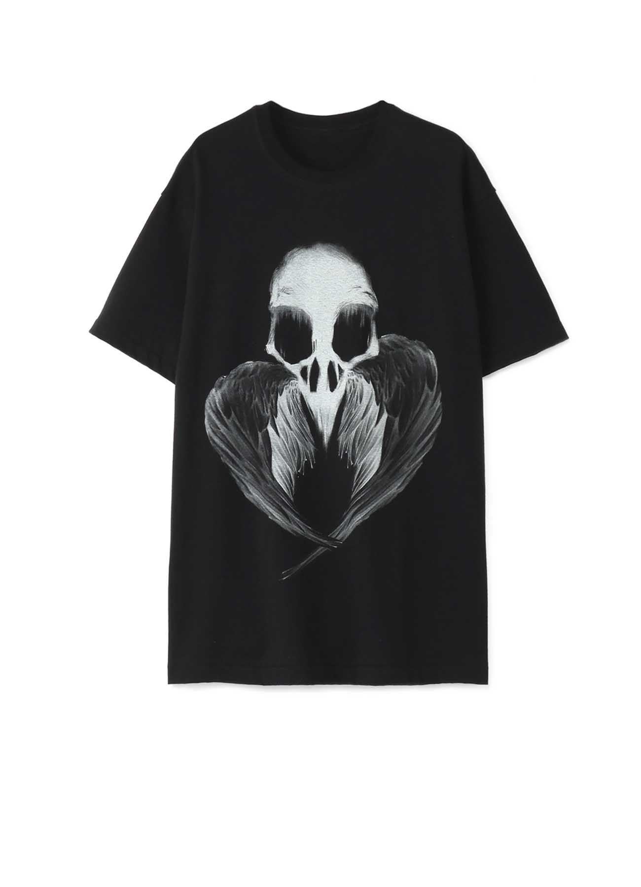 20/CottonJersey Crow Skull Feather T-Shirt