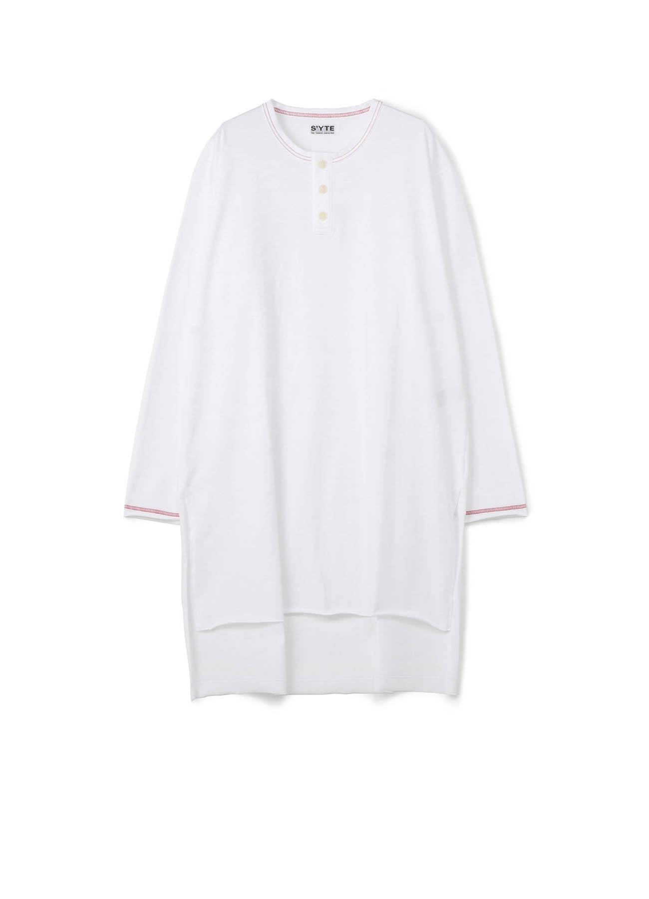 40/2 Cotton Jersey Color Stitch Setin Henry Neck Long Sleeve T