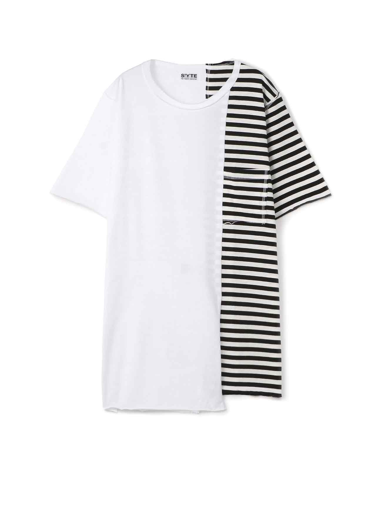 40/- Combed Jersey Asymmetry border T-shirt