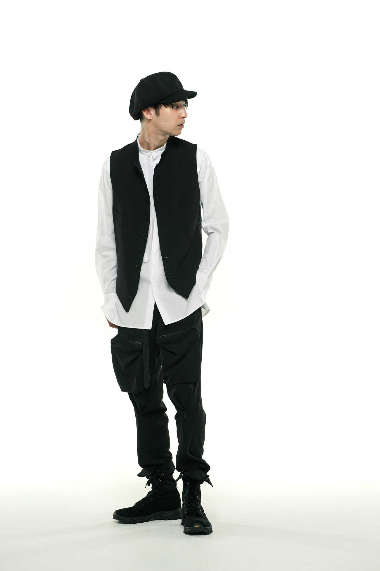 Pe/Rayon Gabardine Stretch Stand Collar Vest