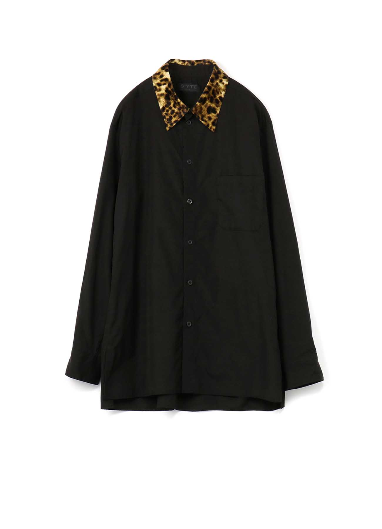 100/2 Broad Leopard Pe/Velor Regular Collar Shirt