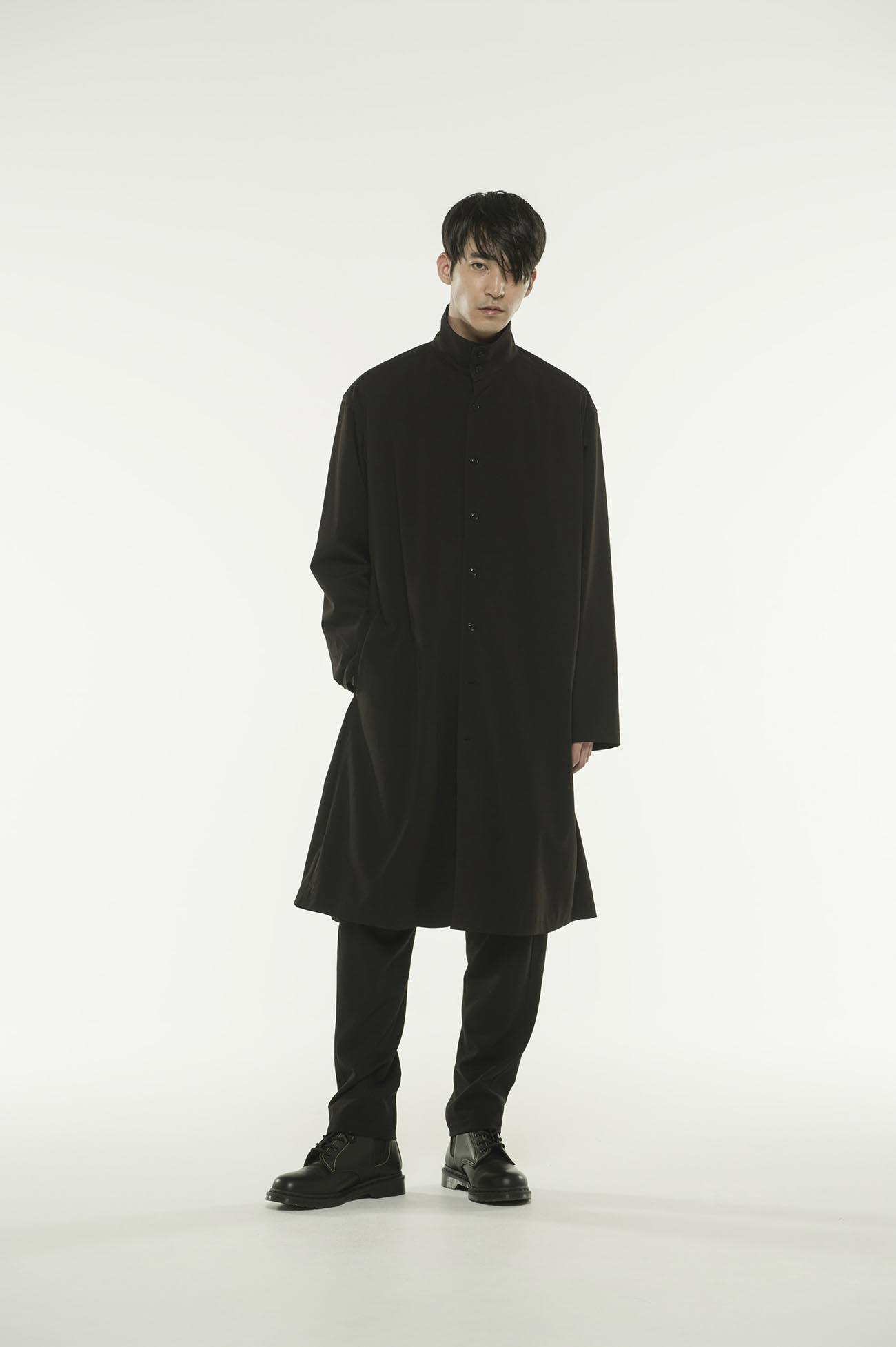 人造丝混纺立领衬衫大衣
