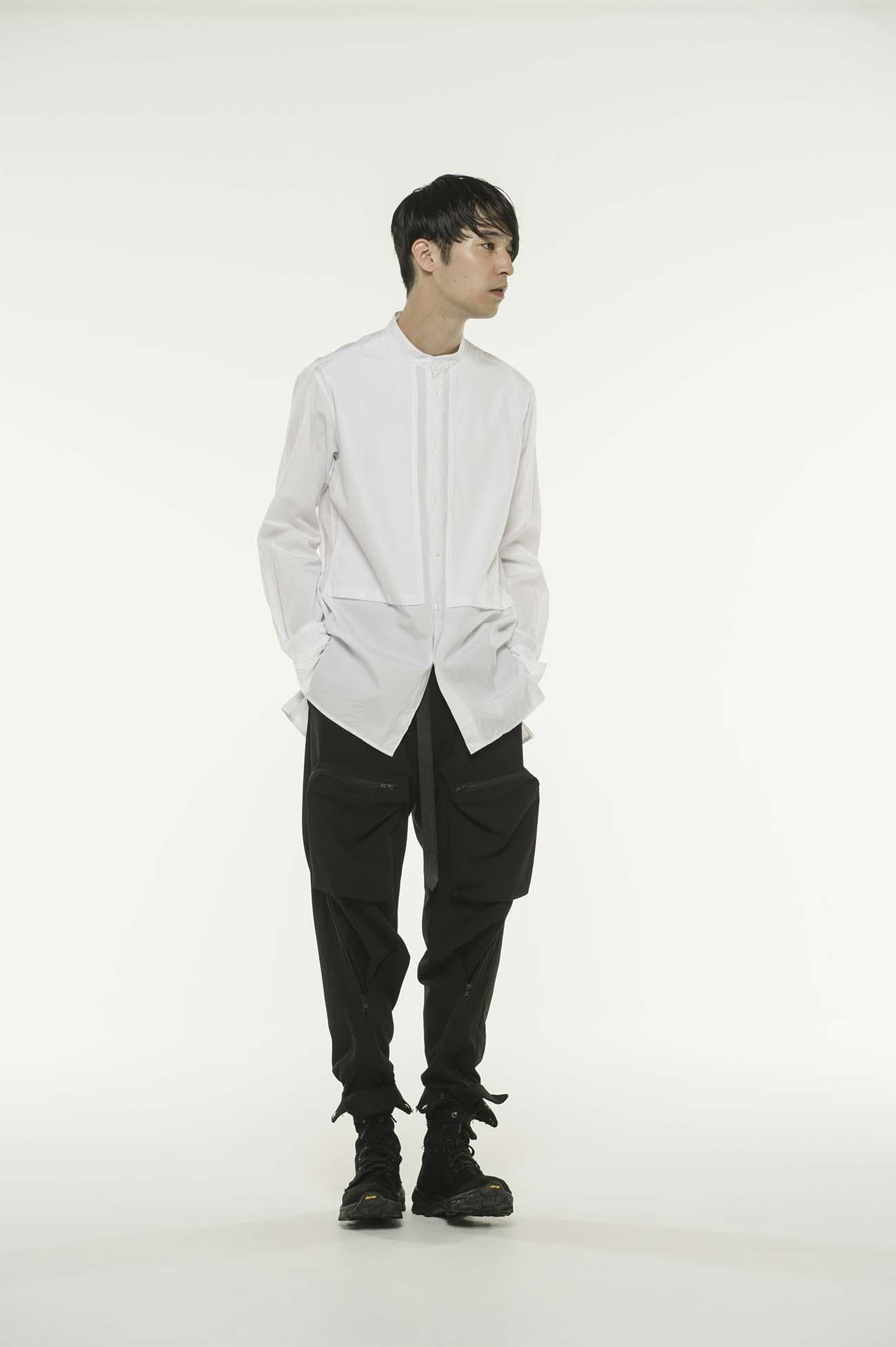 平行口袋立领衬衫
