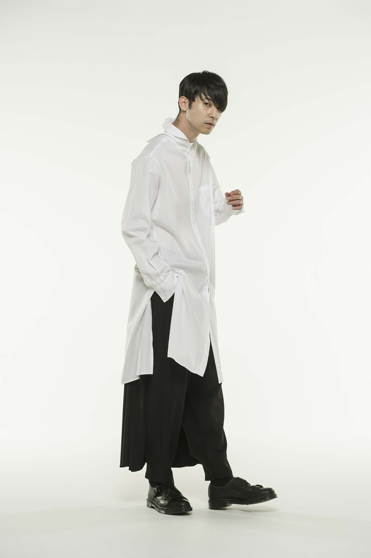 100/2 Broad Shawl Color Strap Back Open Long Shirt