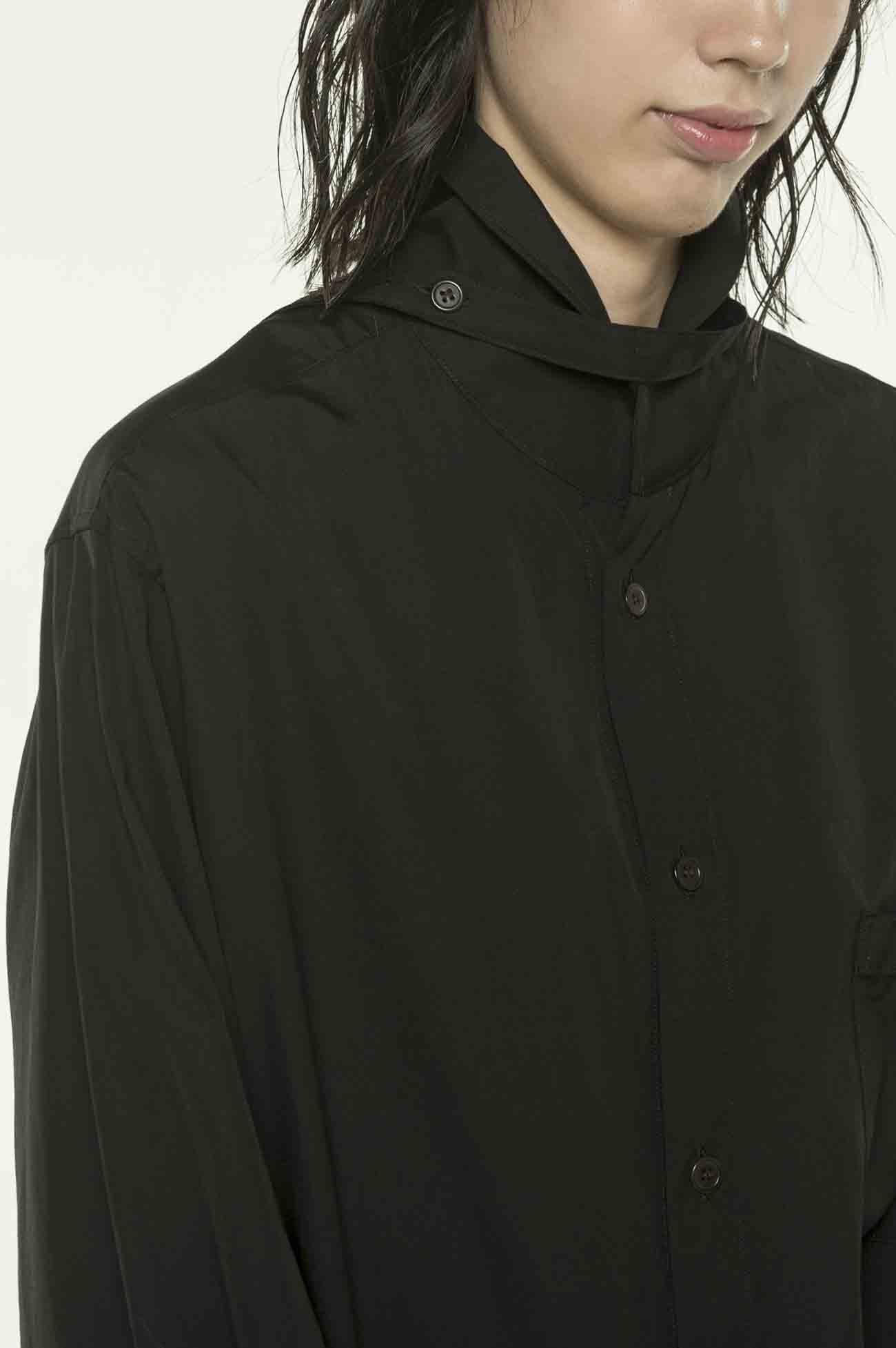 绑带领口长款衬衫