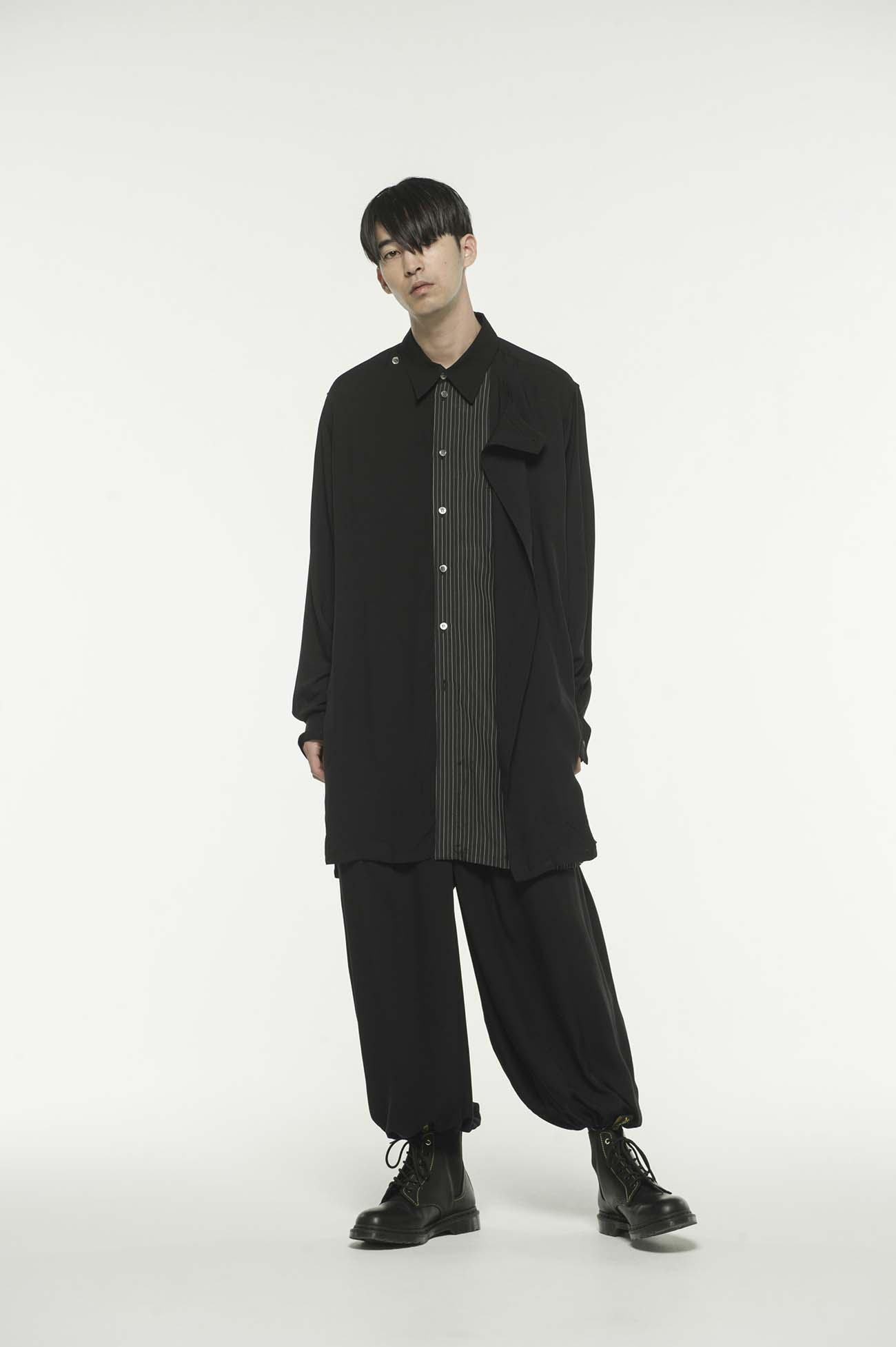 60sRy/Span Twill Washer Front Stripe Wrap Shirt