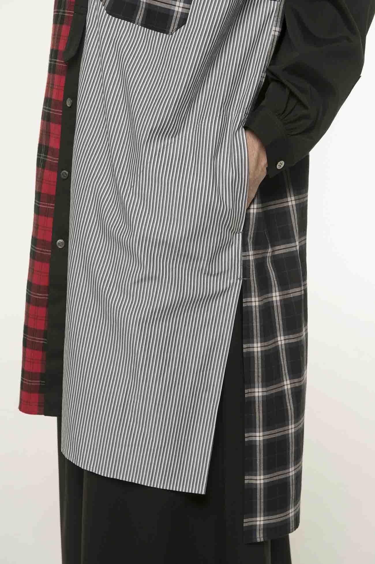 格子×条纹 组合拼接长款无领衬衫