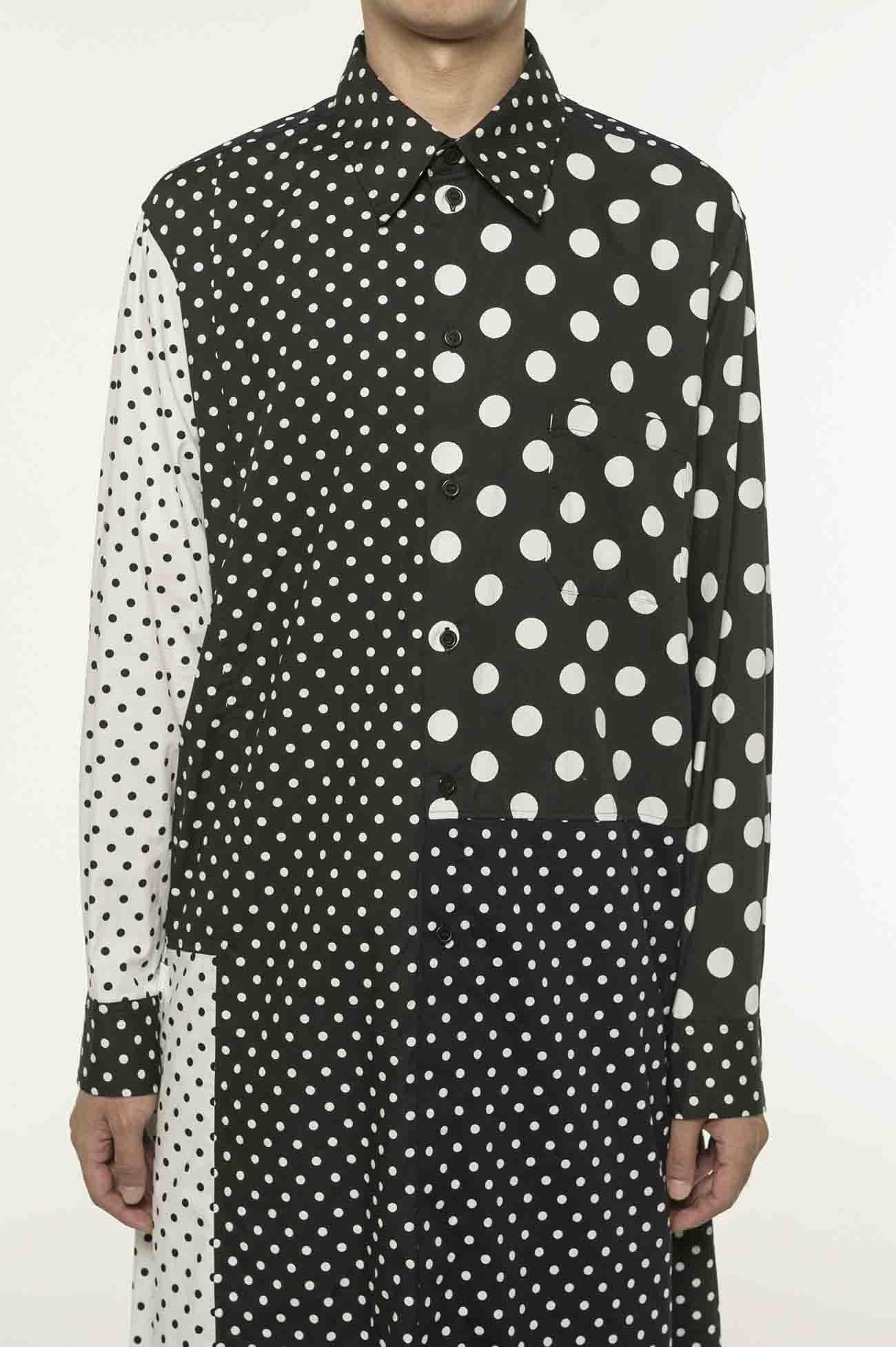 圆点组合长款衬衫