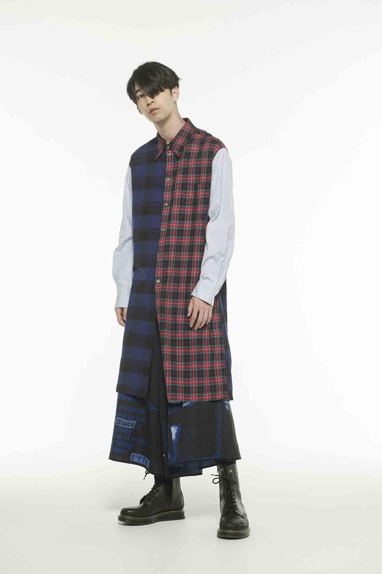 Check Tartan x Stripe Crazy Panel Long Shirt