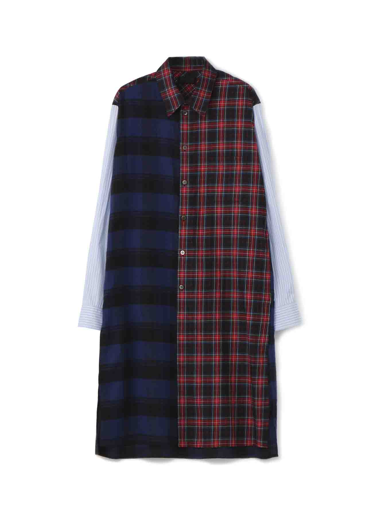 Check Tartan x Stripe x Crazy Panel Long Shirt