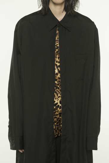 100/2 Broad Leopard Pe/Velor Pleated Long Shirt