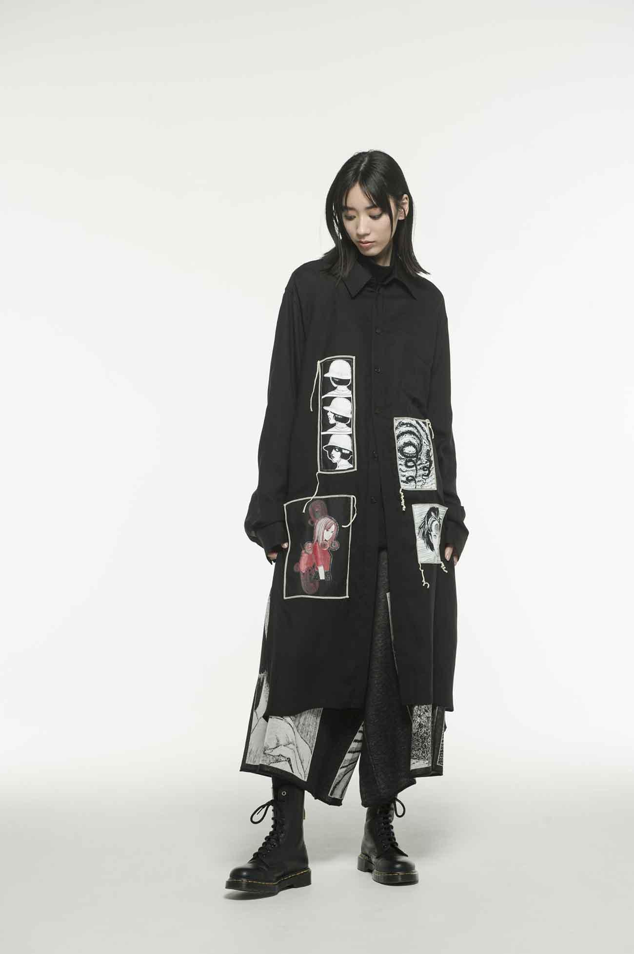 "天丝Viyella Junji Ito"" Uzumaki""常规印花ed贴布长衬衫"