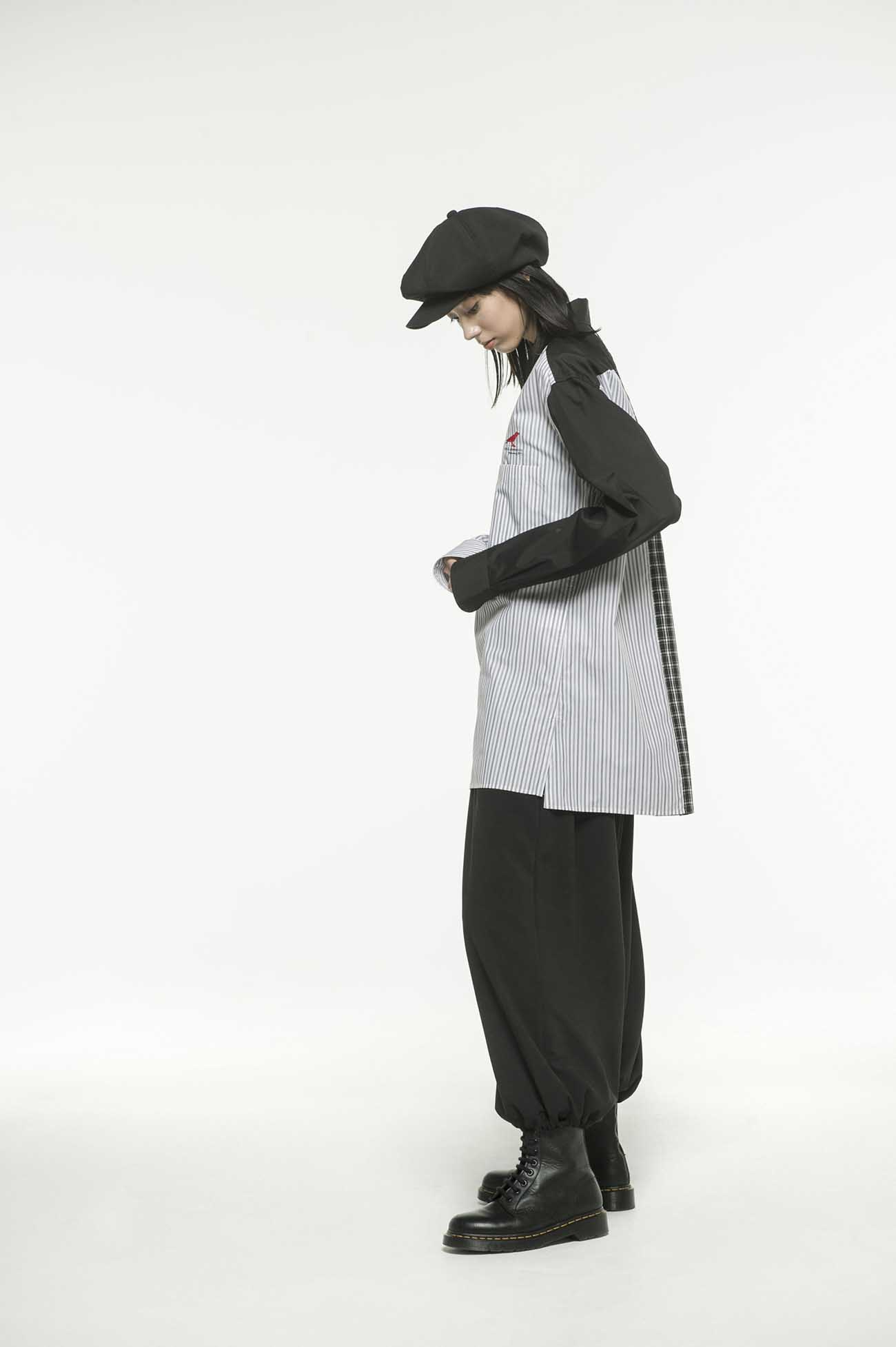 Broad Check Stripe Crazy Panel Crow Embroidery