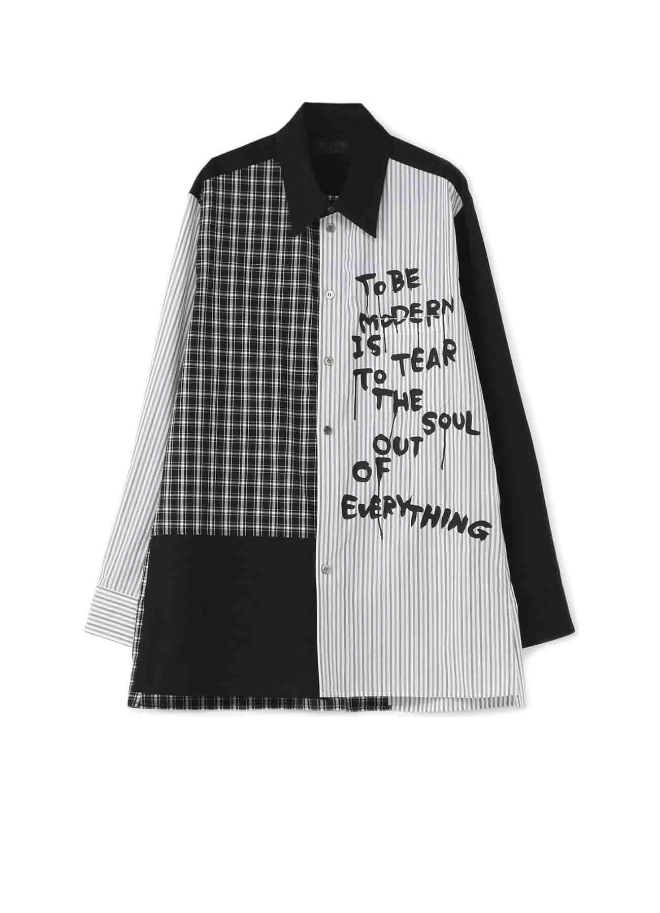 条纹 × 格纹 语录衬衫
