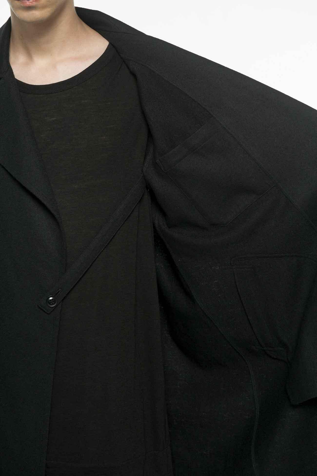 压缩羊毛单扣大衣