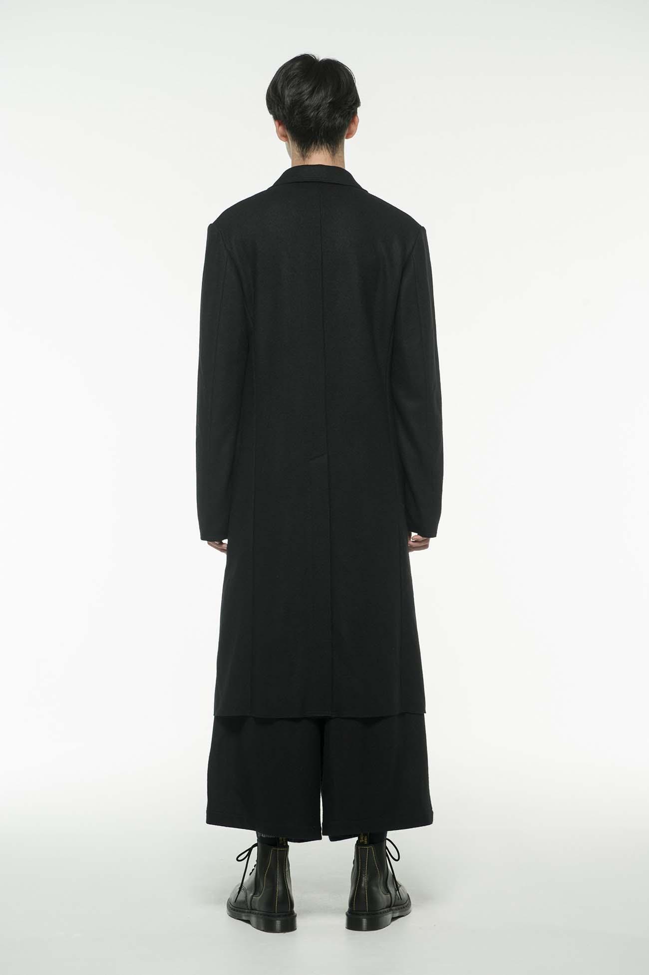 压缩羊毛西装领双排扣长款大衣