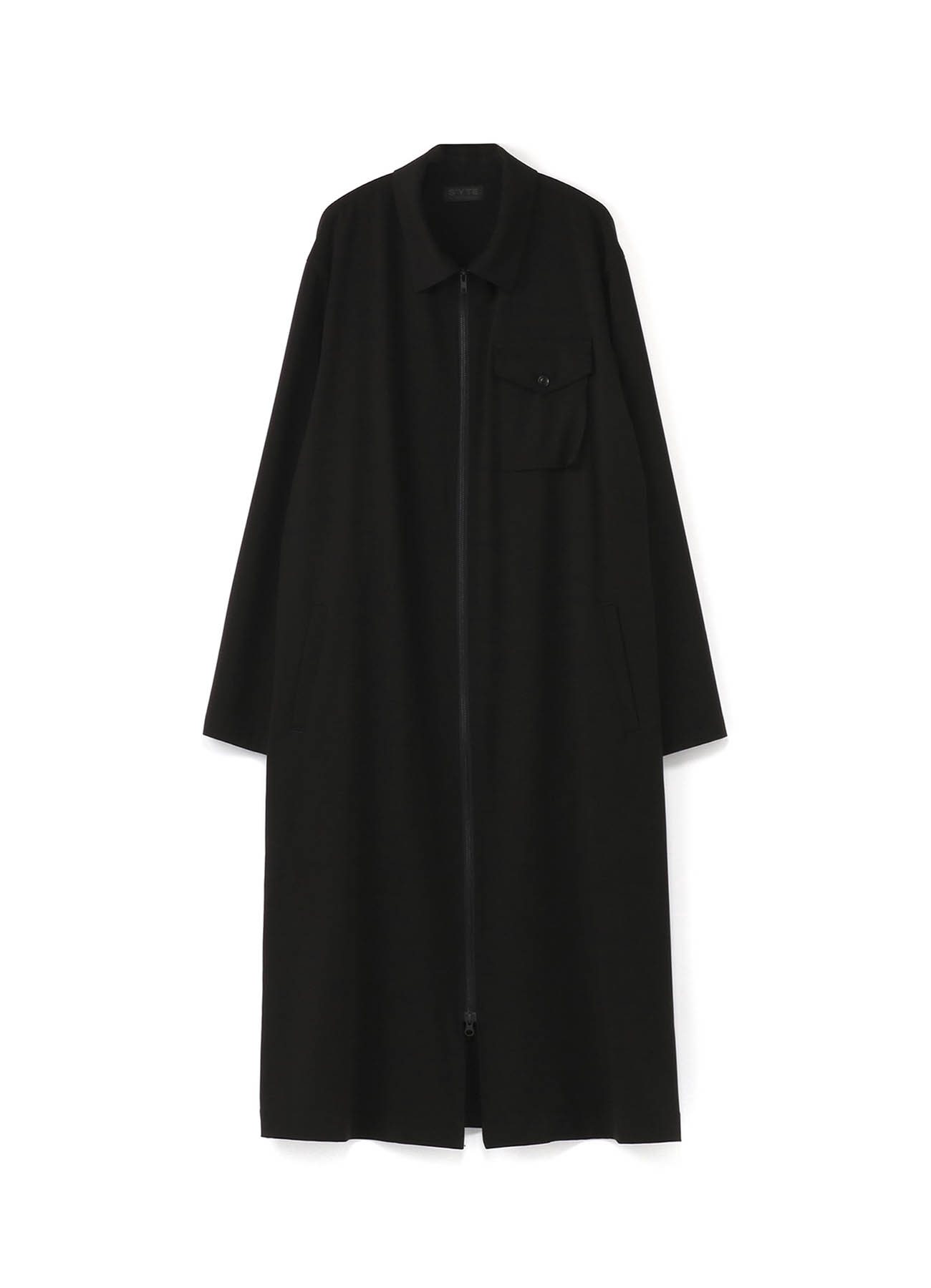 Pe/Rayon Gabardine Stretc Zipper Dress Coat