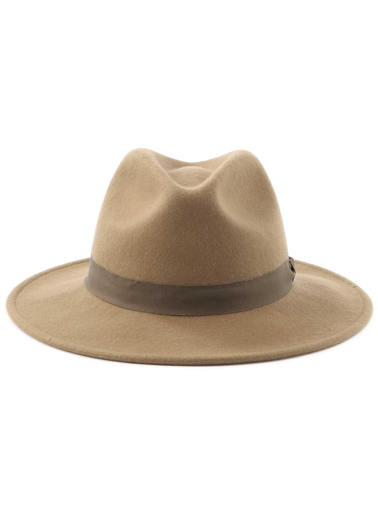 Wool Felt Long Brim Stitch Hat