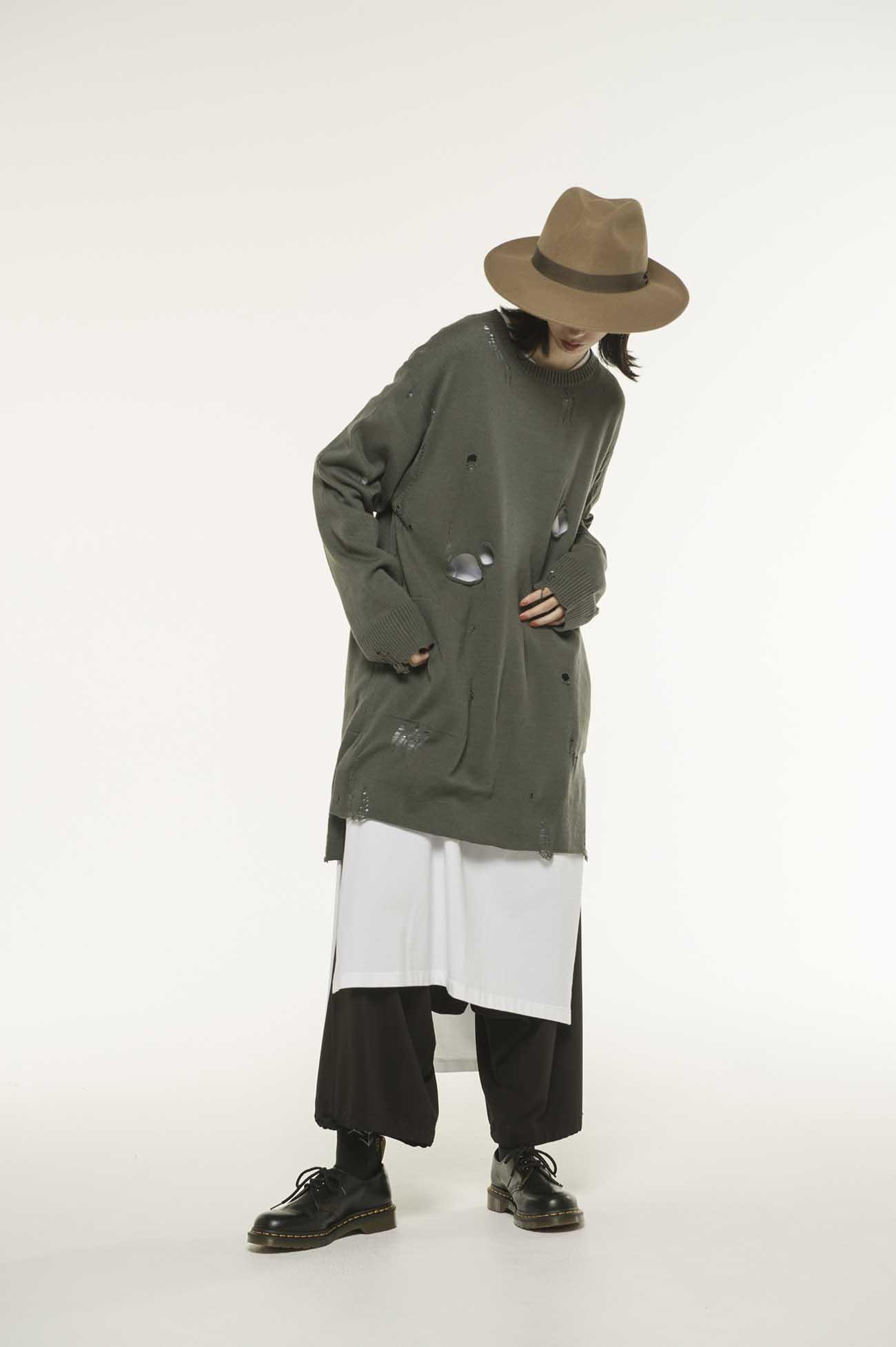 破洞风格羊毛混纺套头衫