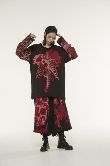 多种图案提花针织衫·红