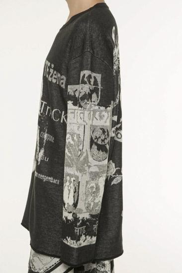 Hameauze提花黑色图形综合夹克圆领