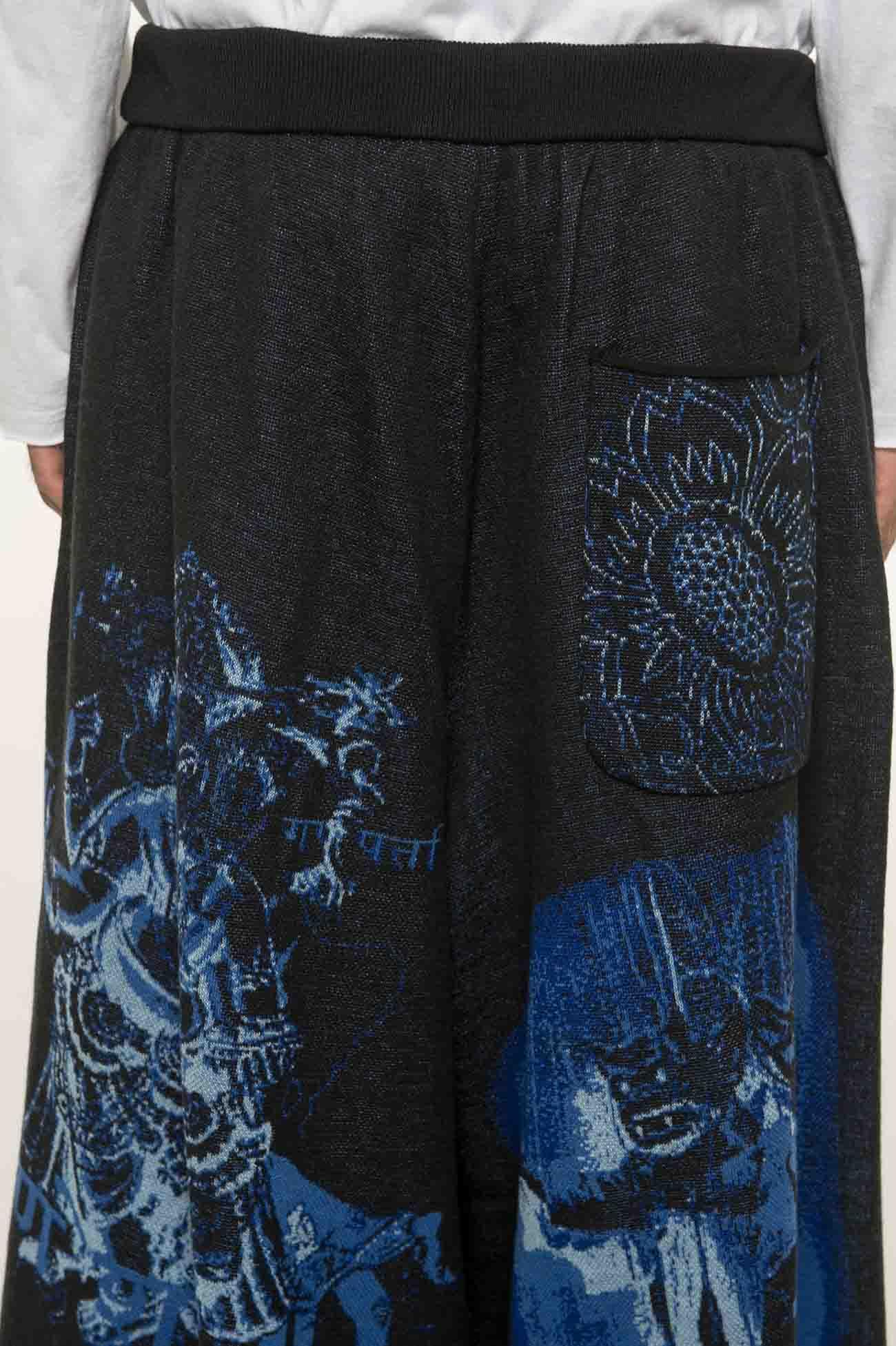 Hameauze Jacquard Blue Graphic Omnibus Culottes Pants