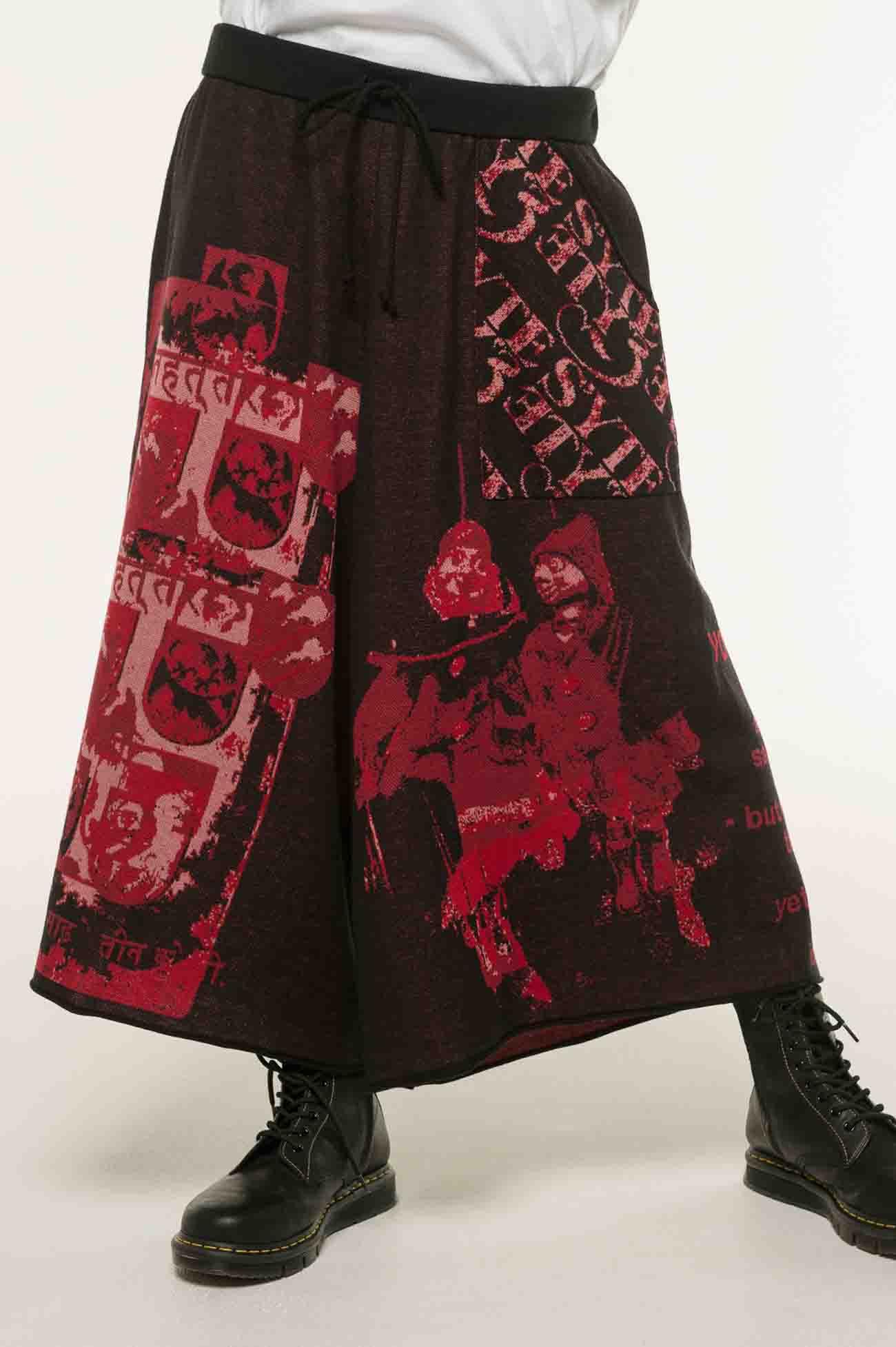多种图案提花针织宽裤·红