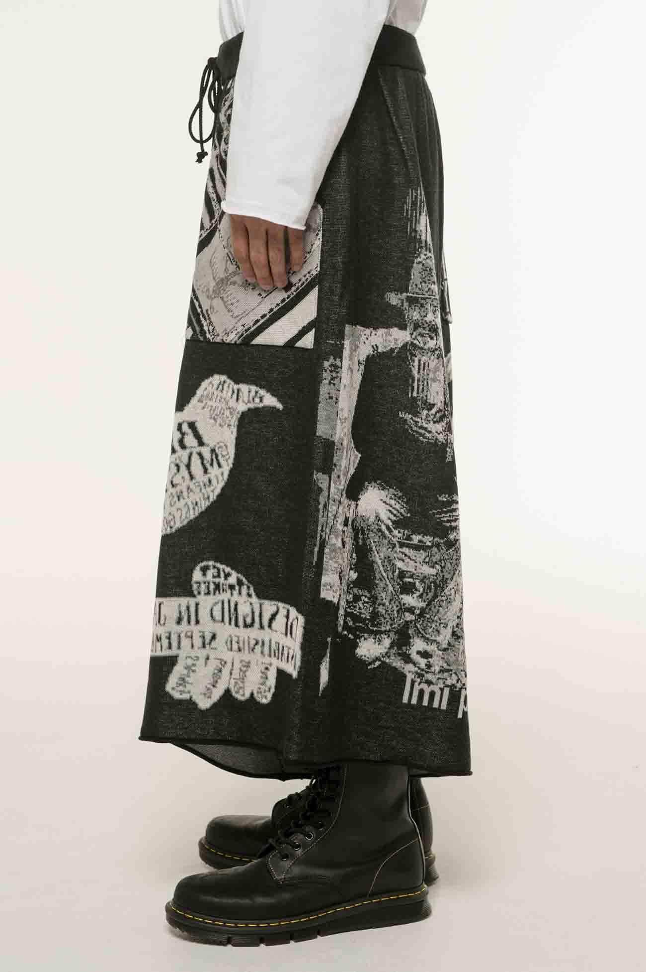 多种图案提花针织宽裤·黑白