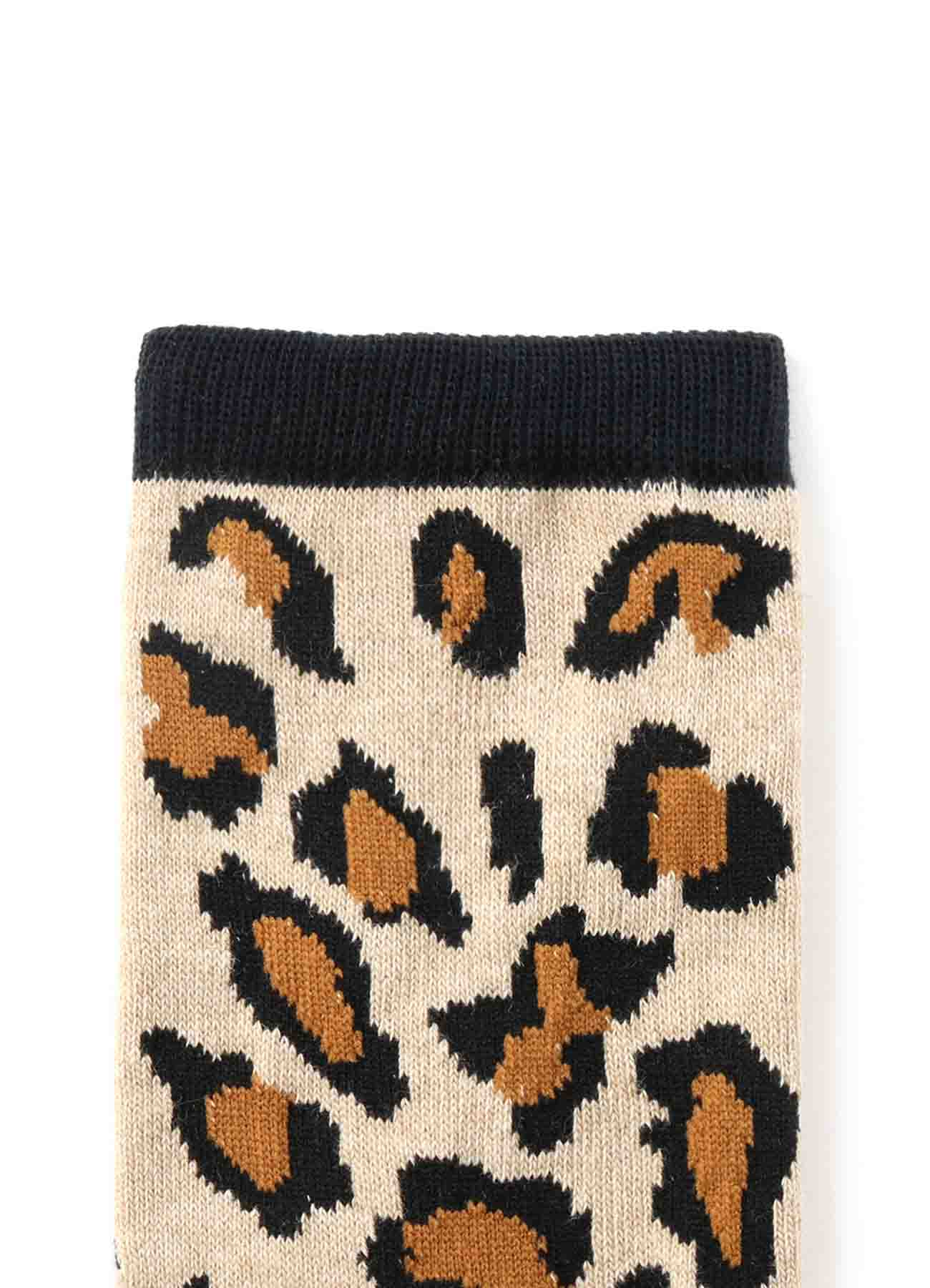 Cotton Plain Stitch Leopard Socks