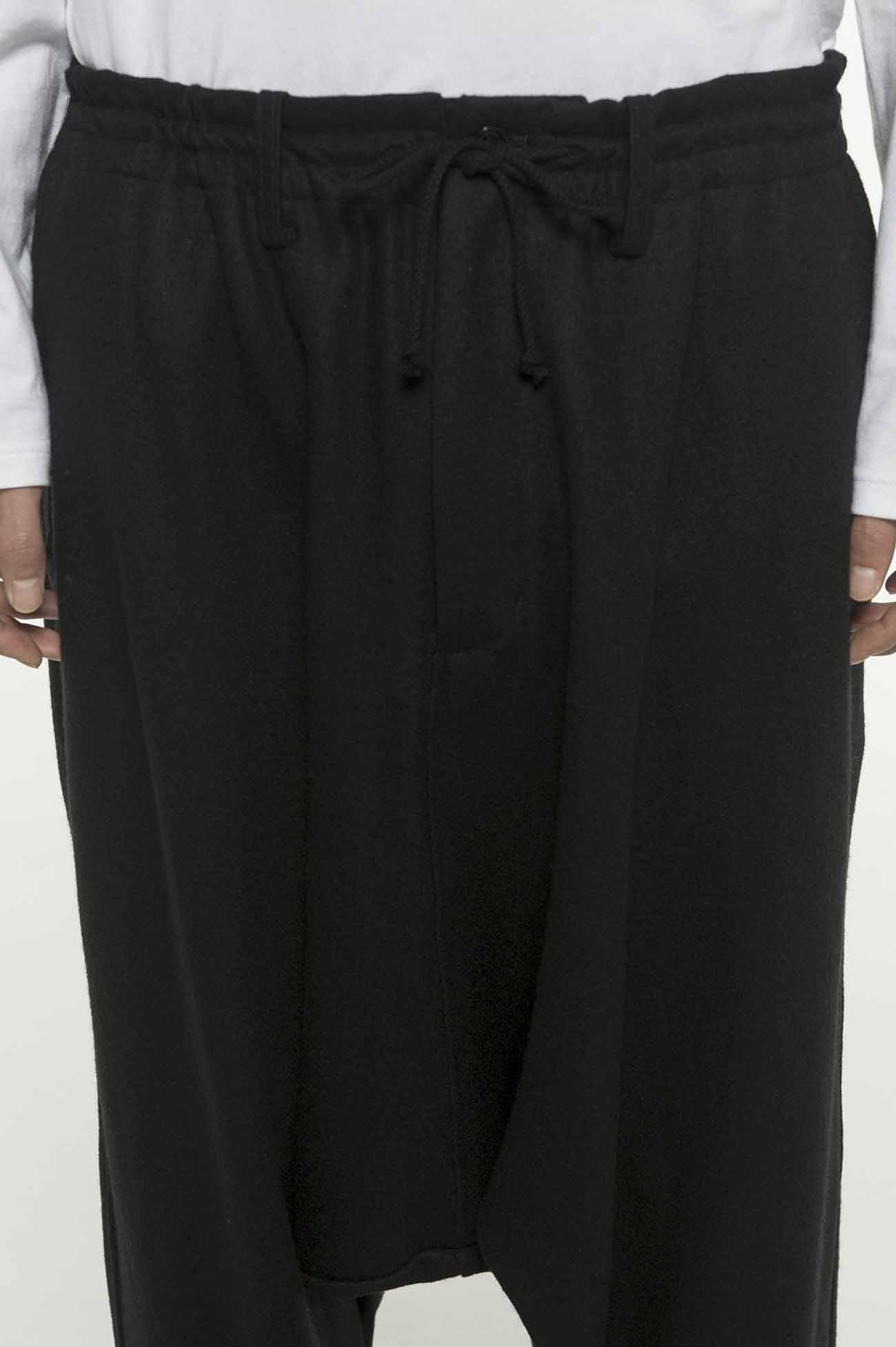 Compression Wool Hem Rib Balloon Sarouel Pants