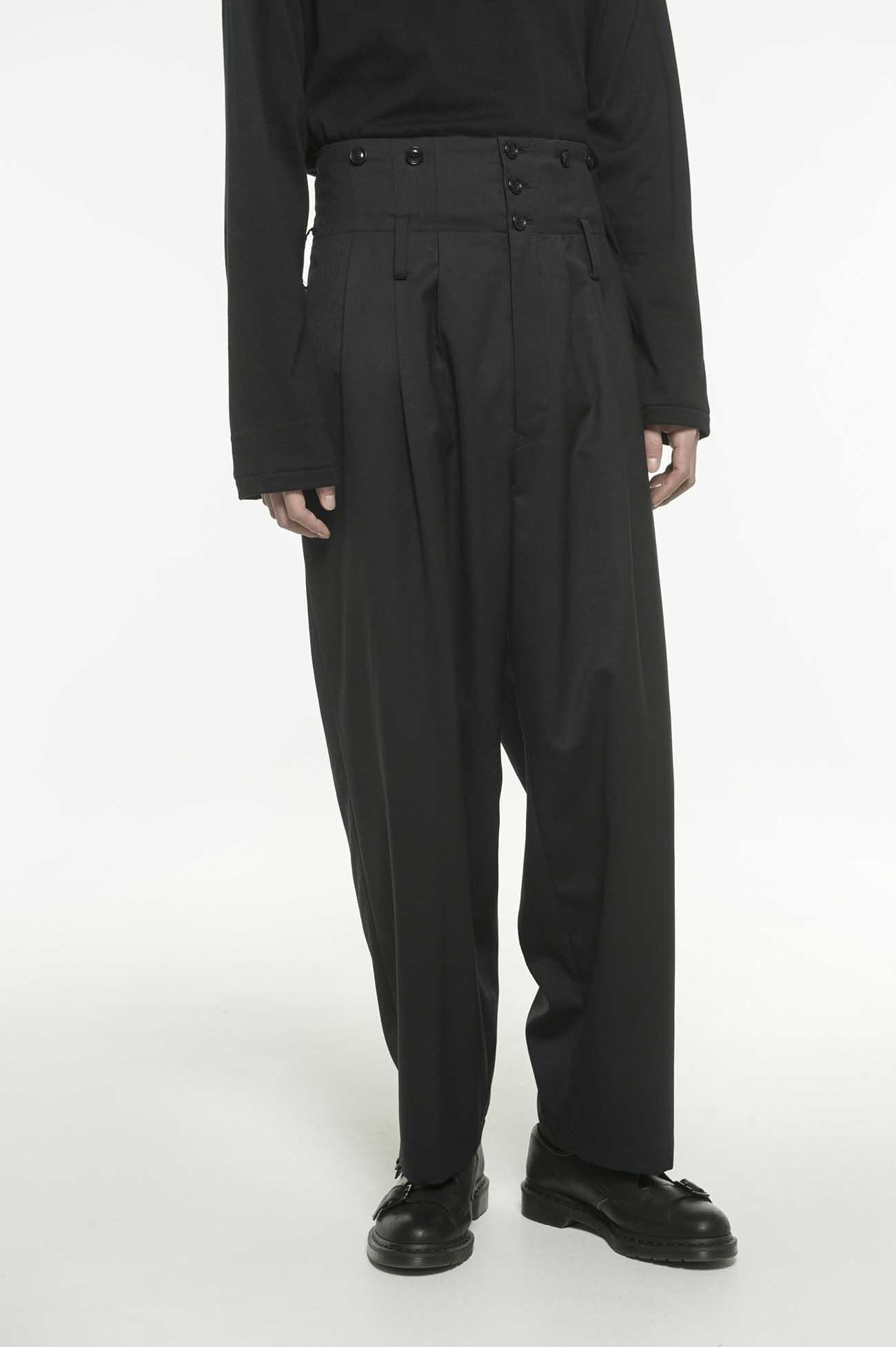 T/W Twill 3Tuck High Waist Wide Suspenders Pants