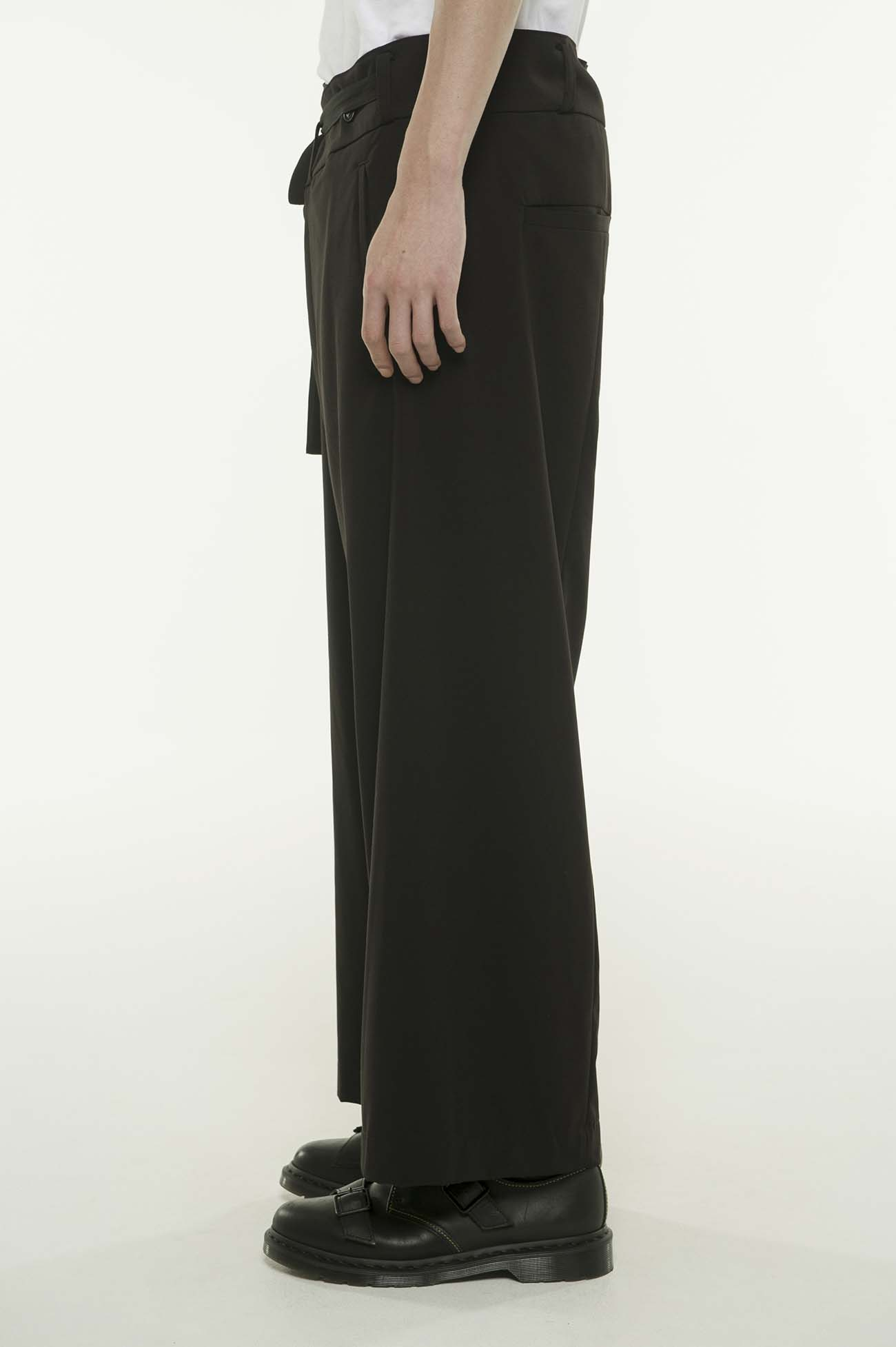 Pe/Rayon Gabardine Stretch Waist Fold Wide Pants