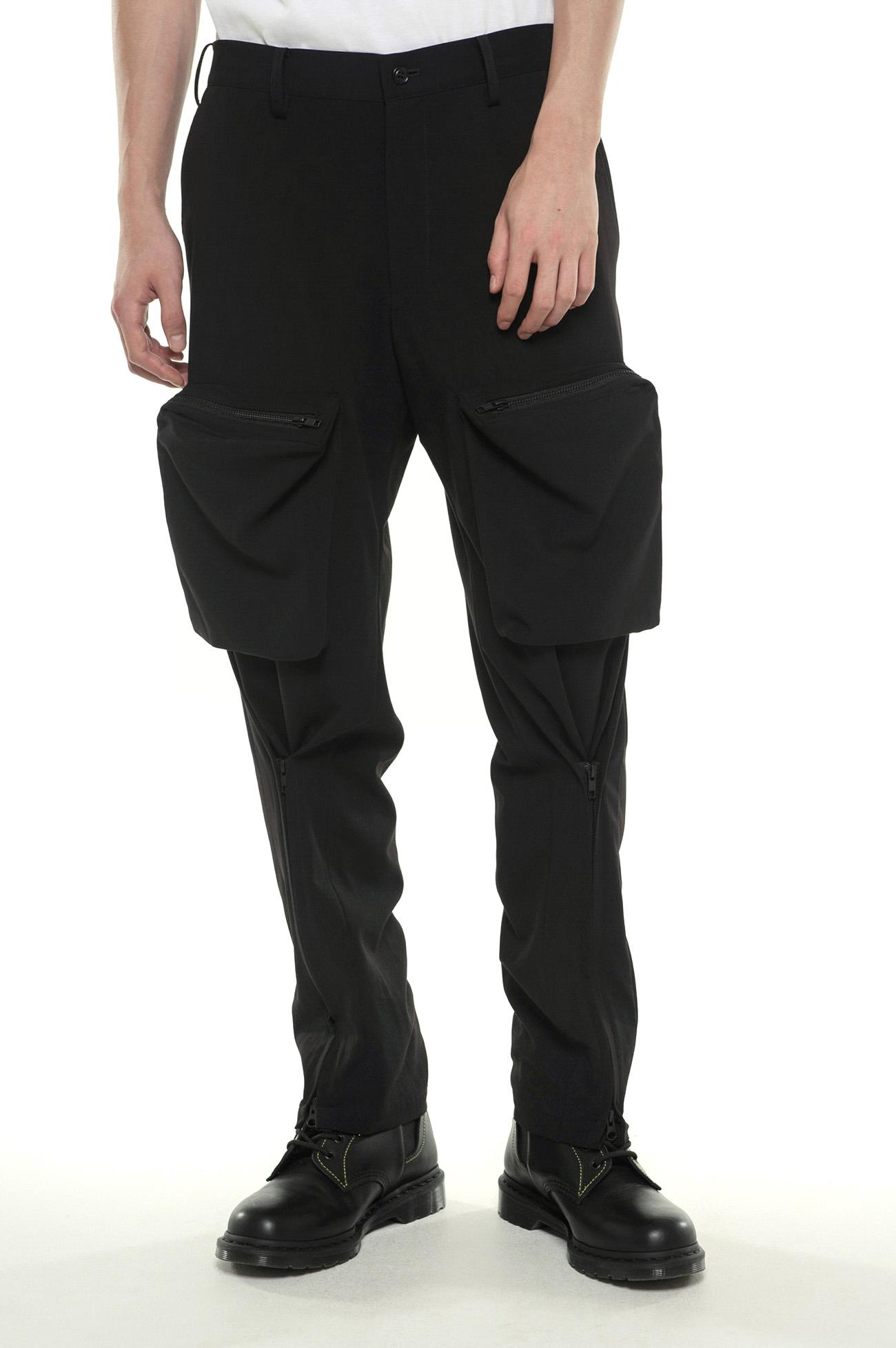 Pe/Rayon Gabardine Stretch Bondage Zipper Cargo Pants