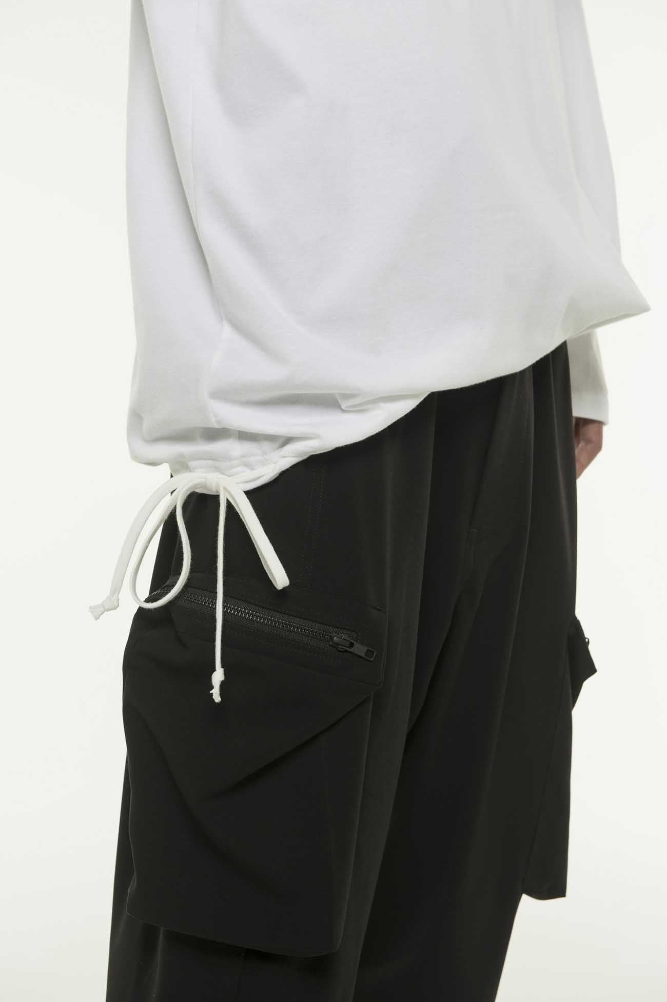 缝线装饰收口长袖上衣