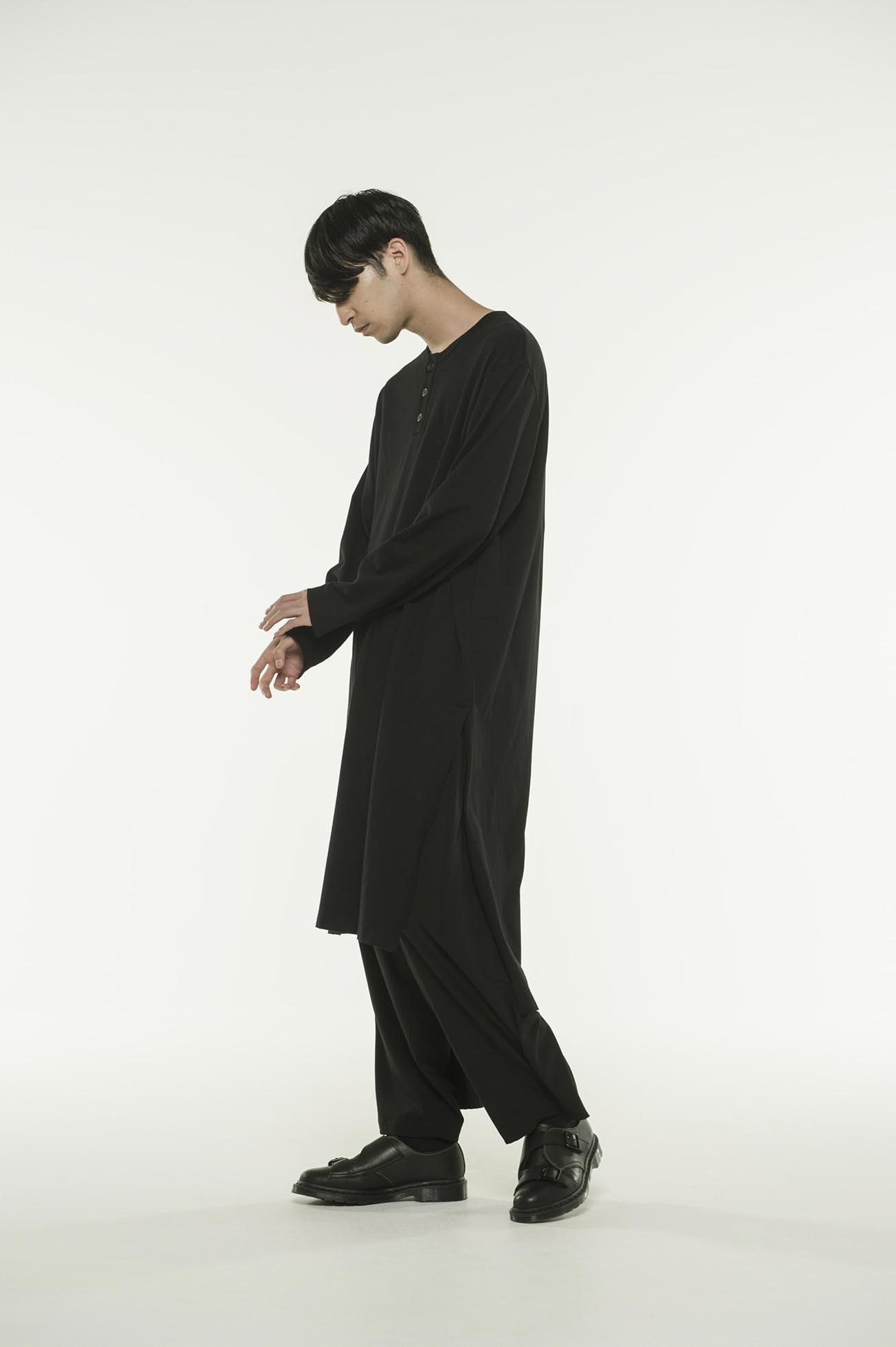 40/2 Cotton Jersey Henry Neck Slit Dress T-Shirt